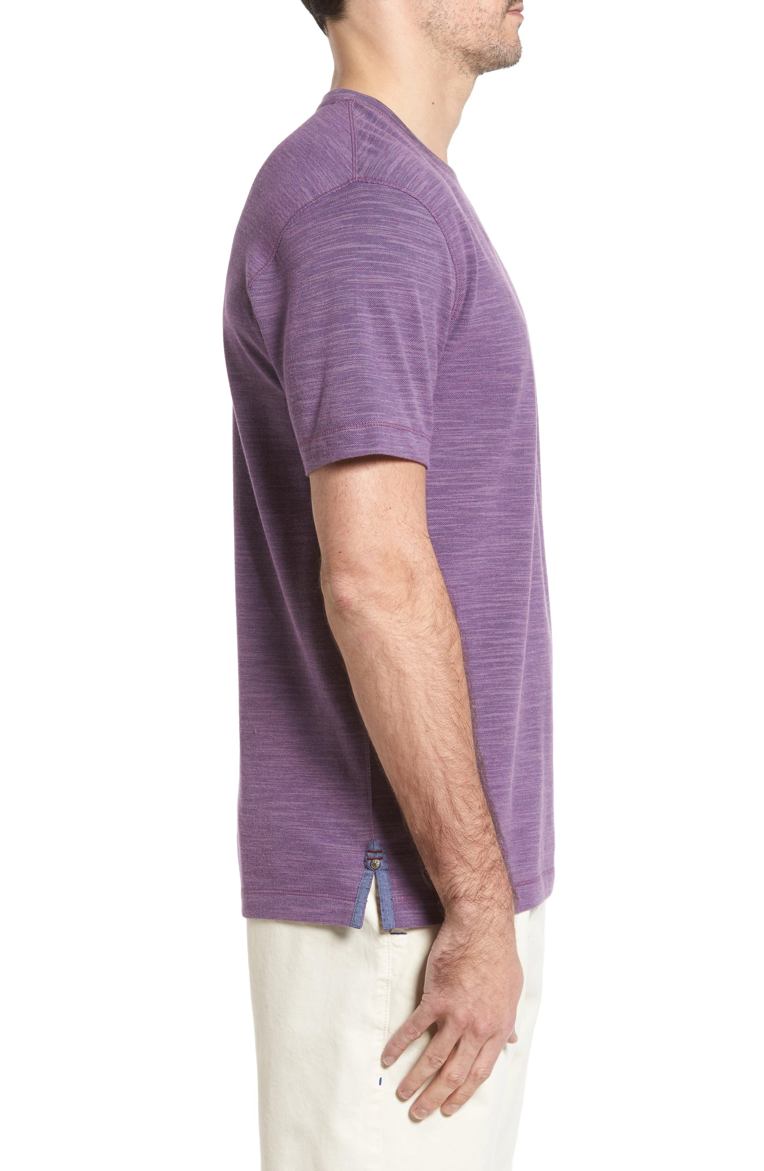 Paxton Space Dye Piqué T-Shirt,                             Alternate thumbnail 3, color,                             Purple
