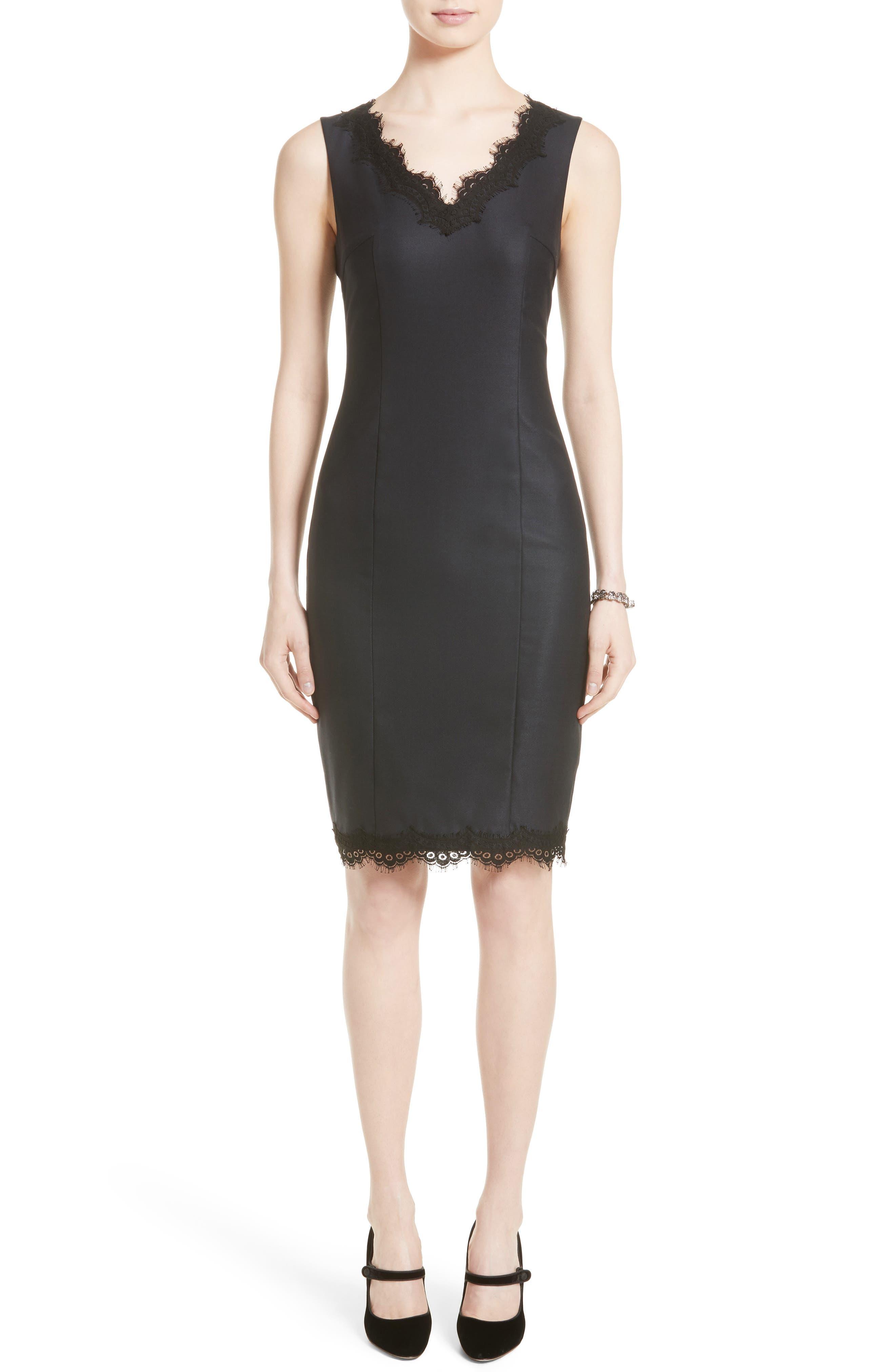 Stretch Birdseye Sheath Dress,                         Main,                         color, Navy/ Caviar