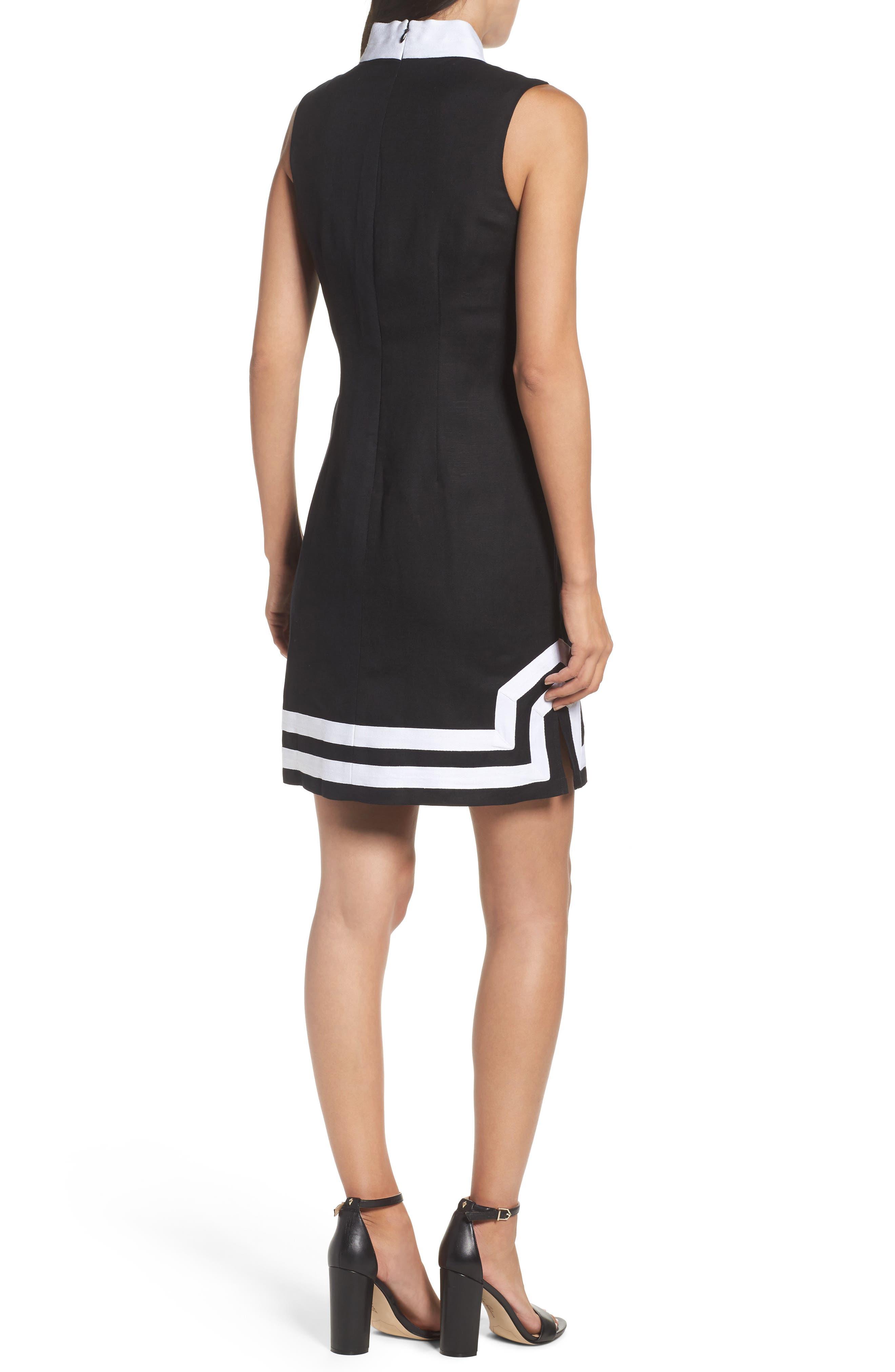 Linen Blend Sheath Dress,                             Alternate thumbnail 2, color,                             Black/ Ivory