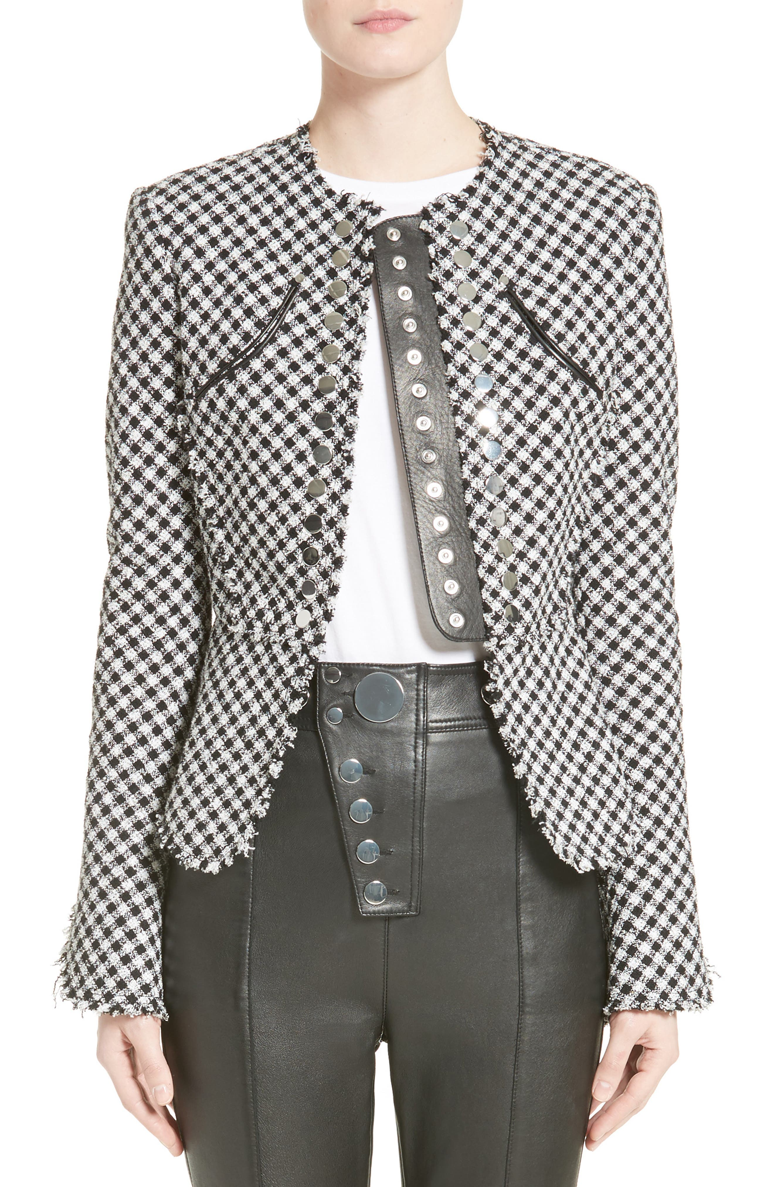 Check Tweed Peplum Jacket,                         Main,                         color, Black