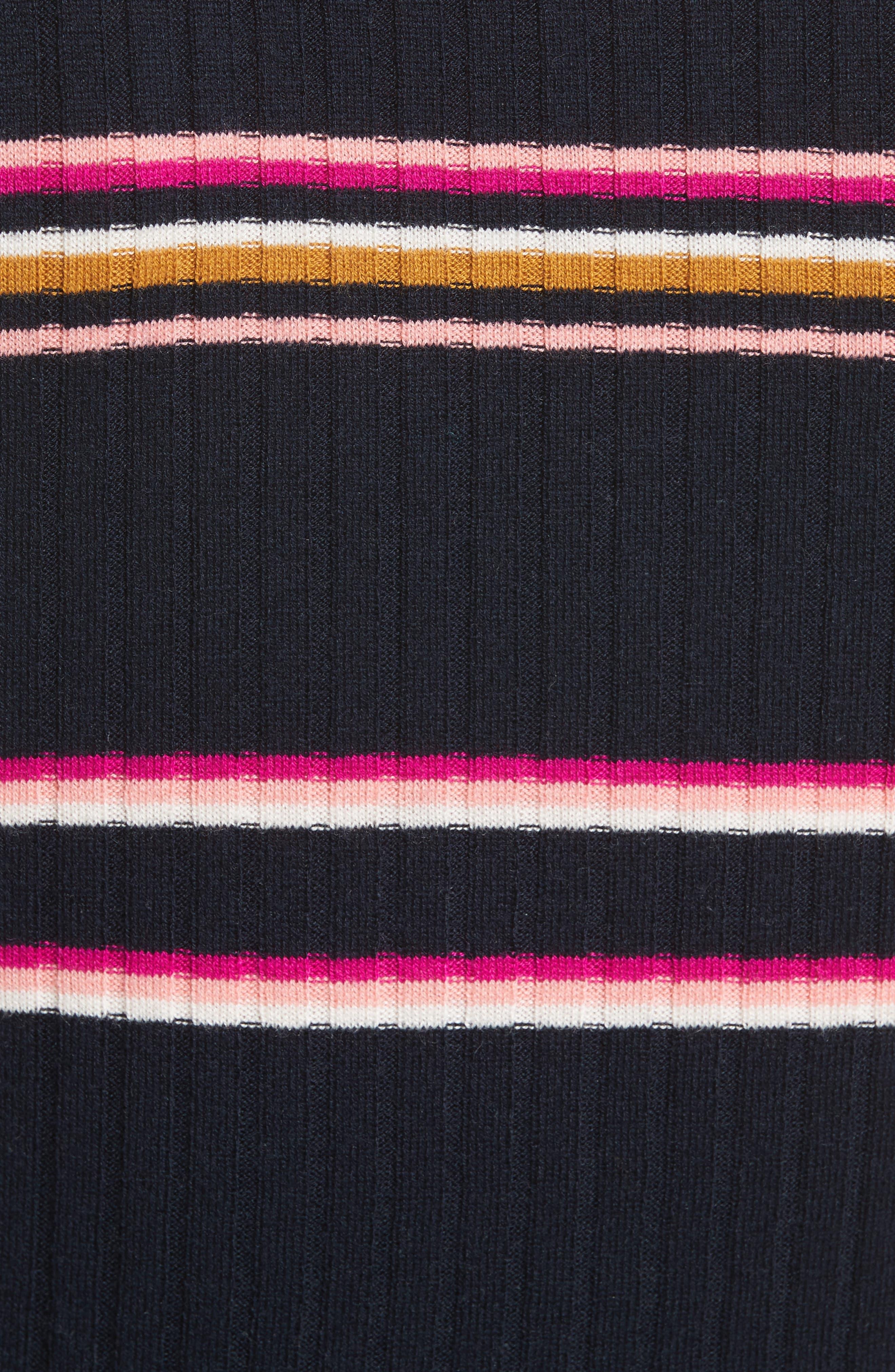 Stripe Rib Knit Tank,                             Alternate thumbnail 5, color,                             Navy