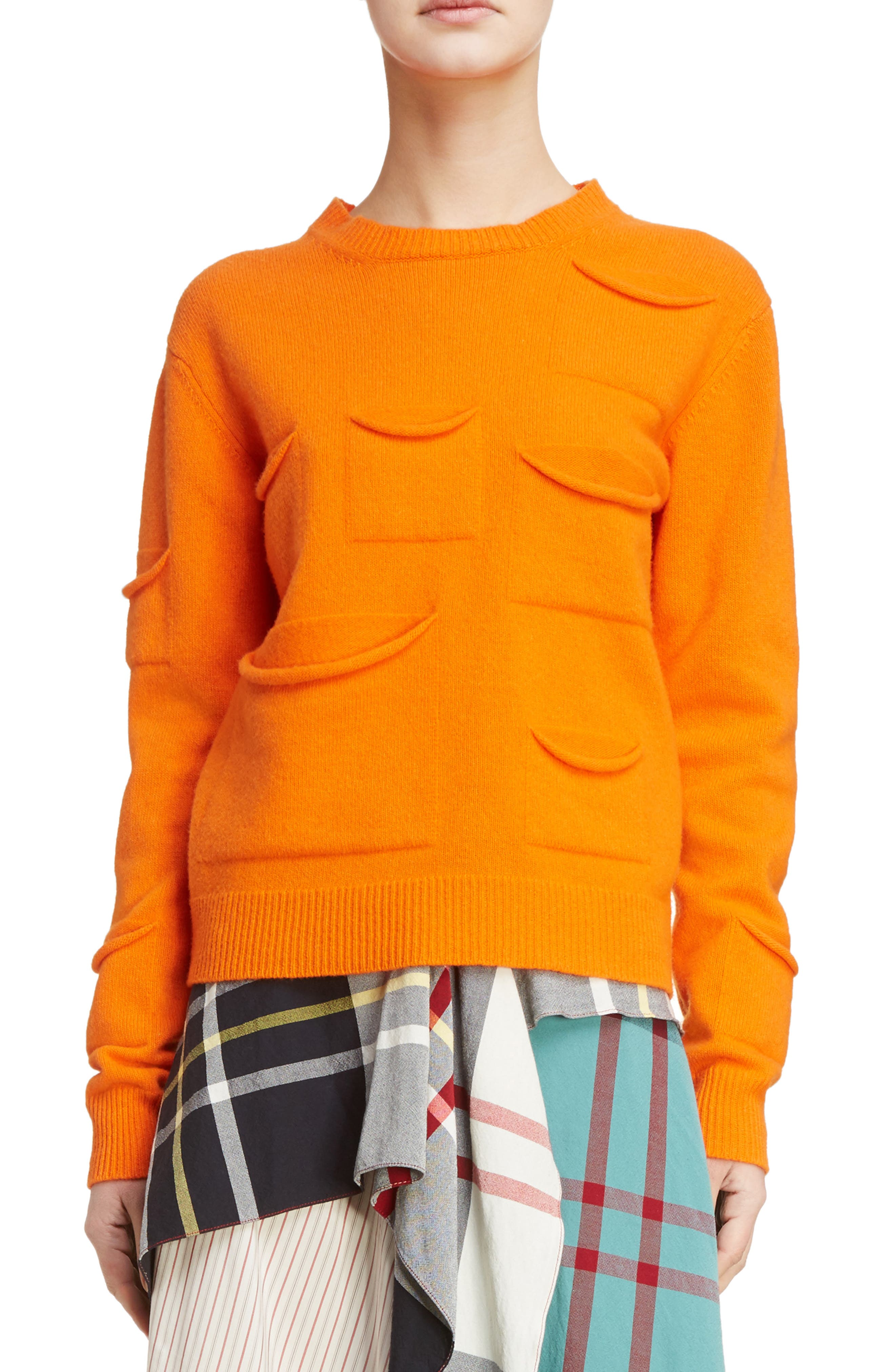 J.W.ANDERSON Multi Pocket Crewneck Sweater,                             Main thumbnail 1, color,                             Tangerine