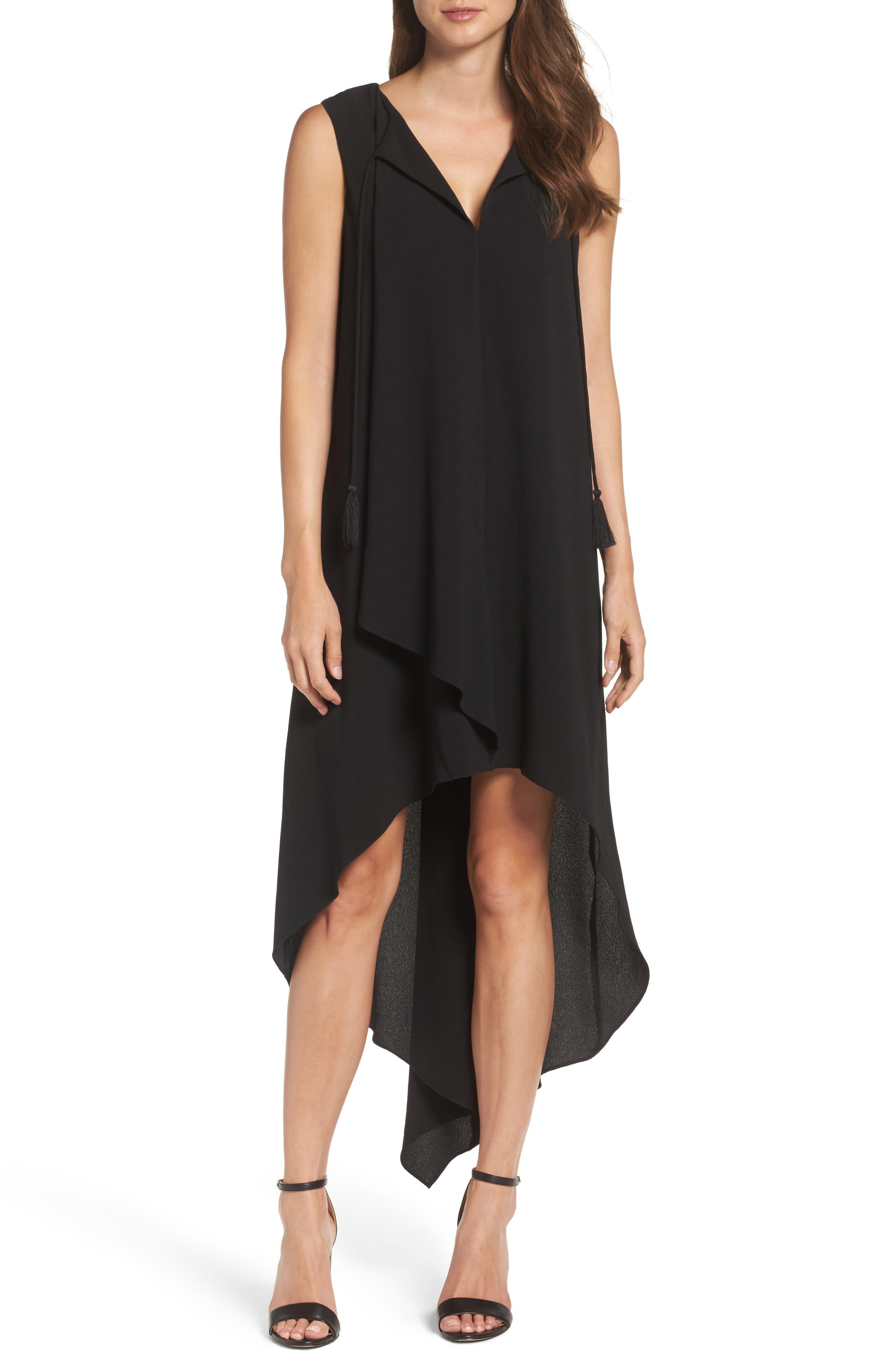 High/Low Dress,                         Main,                         color, Black