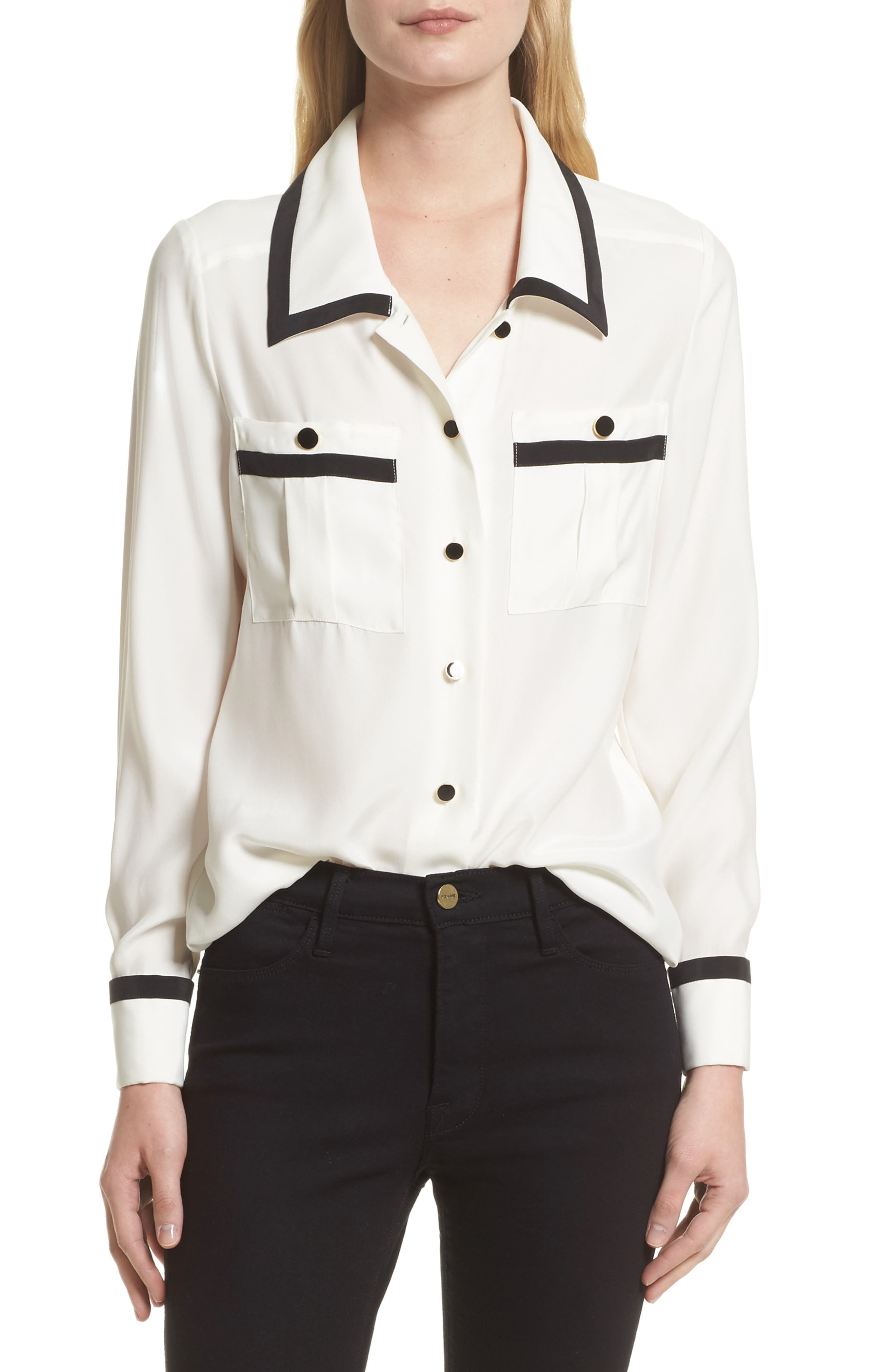 FRAME Piped Double Pocket Silk Shirt (Nordstrom Exclusive)