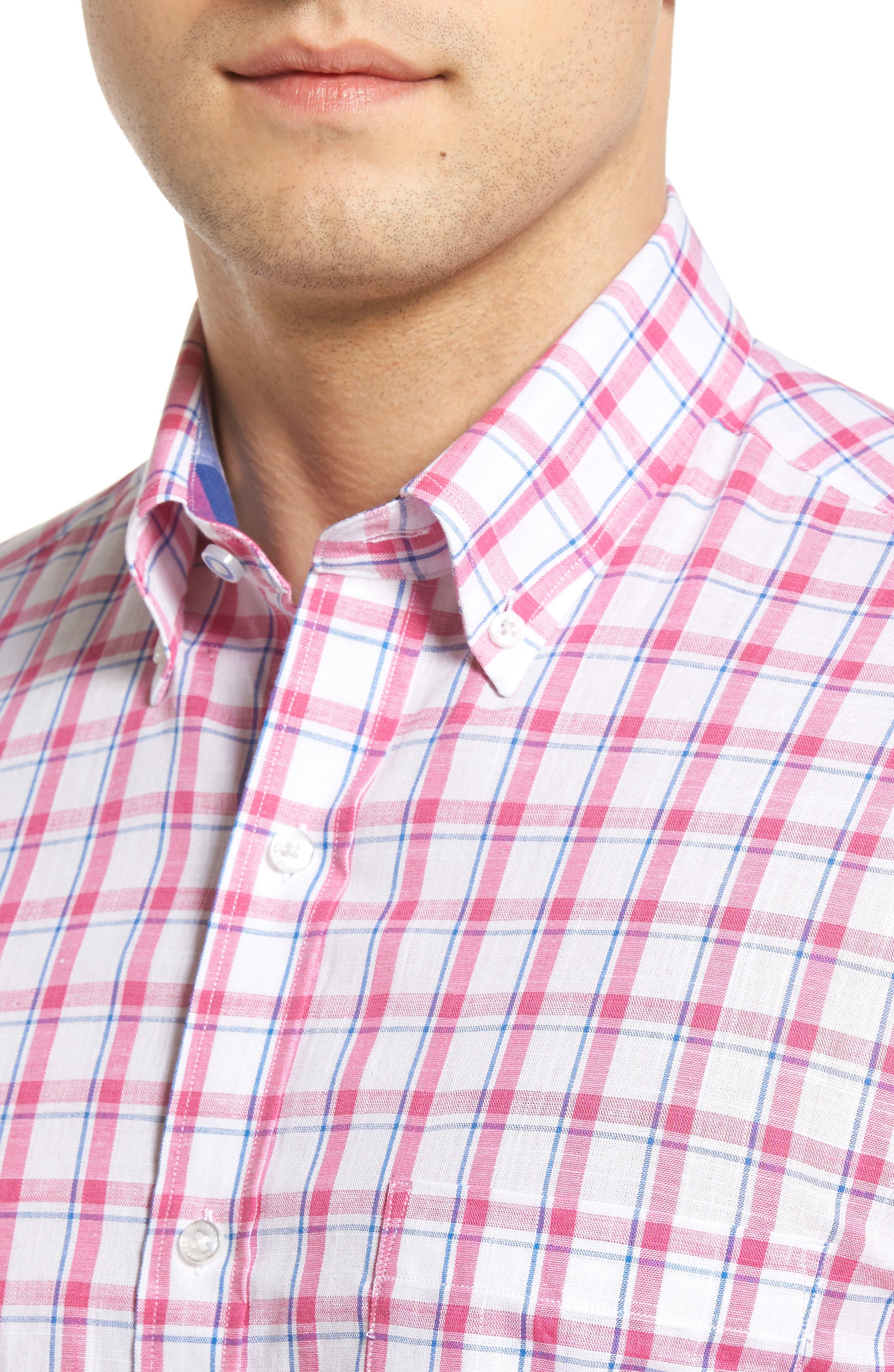 Alternate Image 4  - Tailorbyrd Regular Fit Short Sleeve Windowpane Sport Shirt