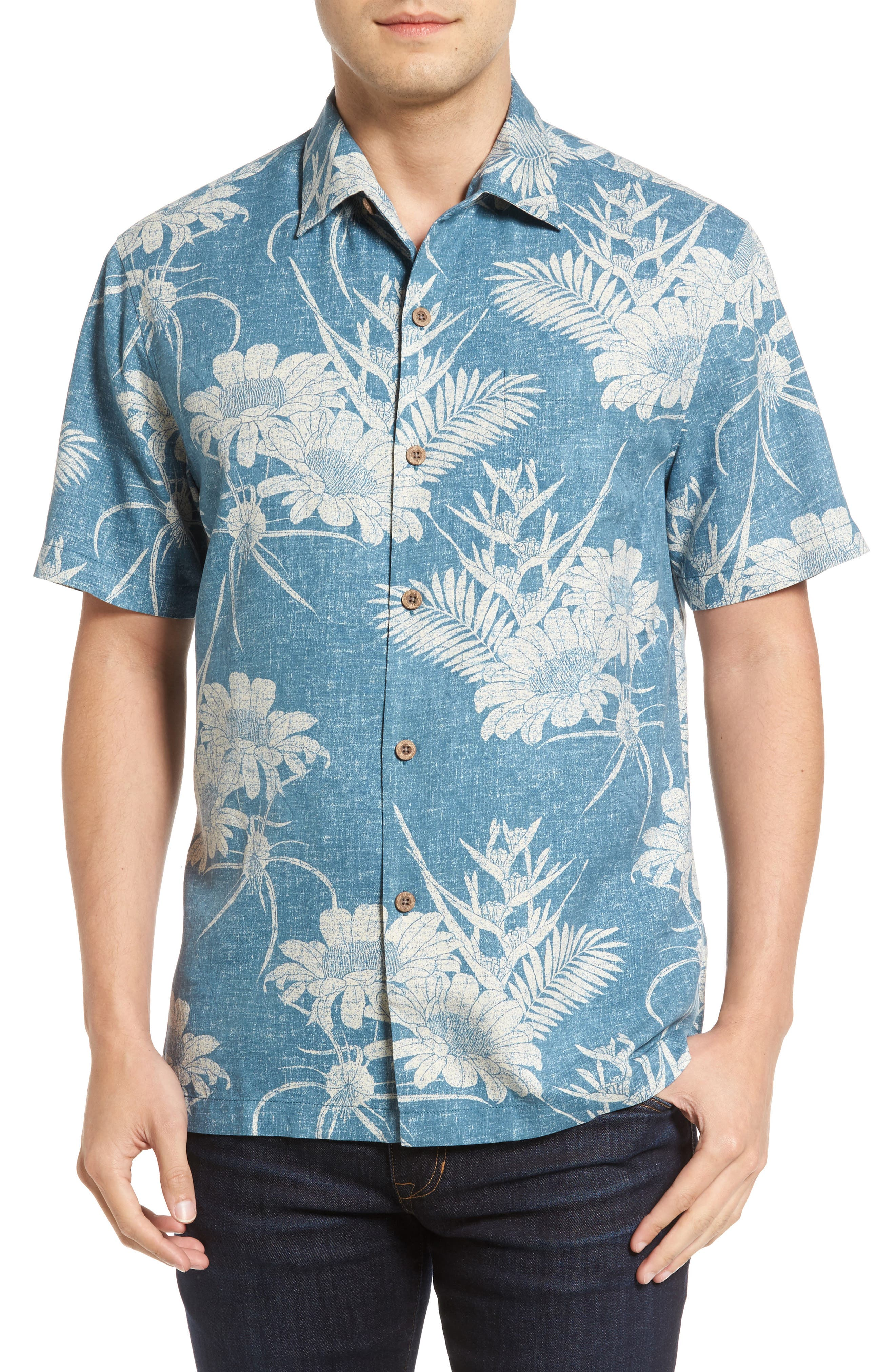 Main Image - Tommy Bahama Sand Torini Blooms Standard Fit Silk Blend Camp Shirt