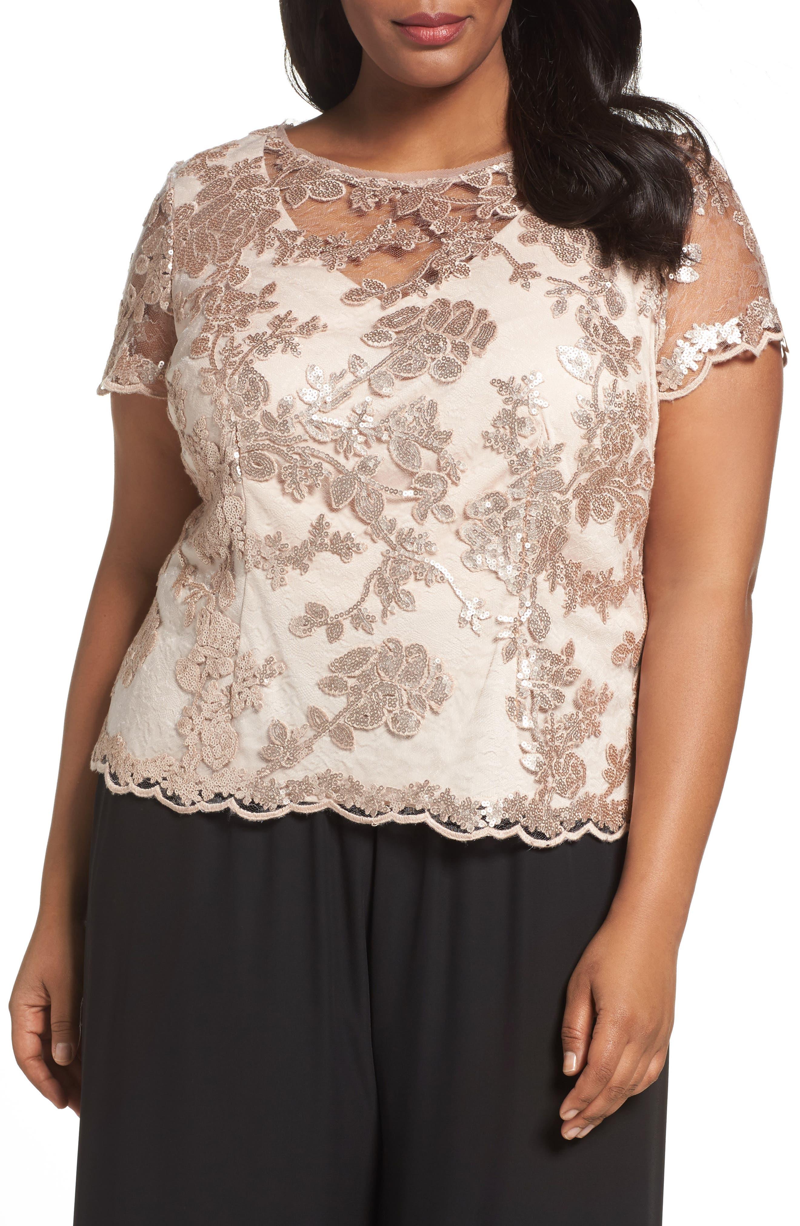 Alex Evenings Sequin Lace Blouse (Plus Size)