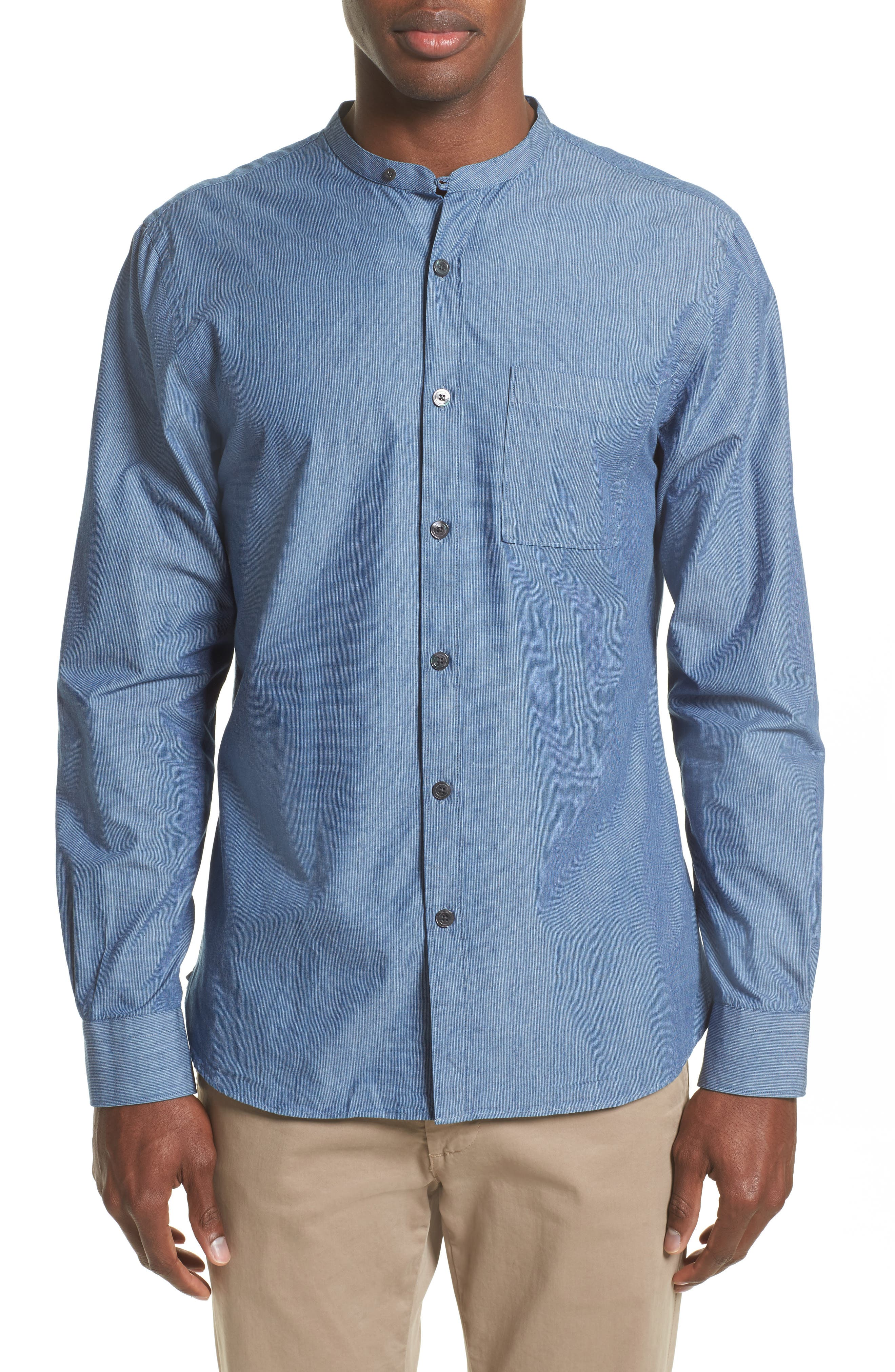 Todd Snyder Stripe Trim Fit Mandarin Collar Sport Shirt