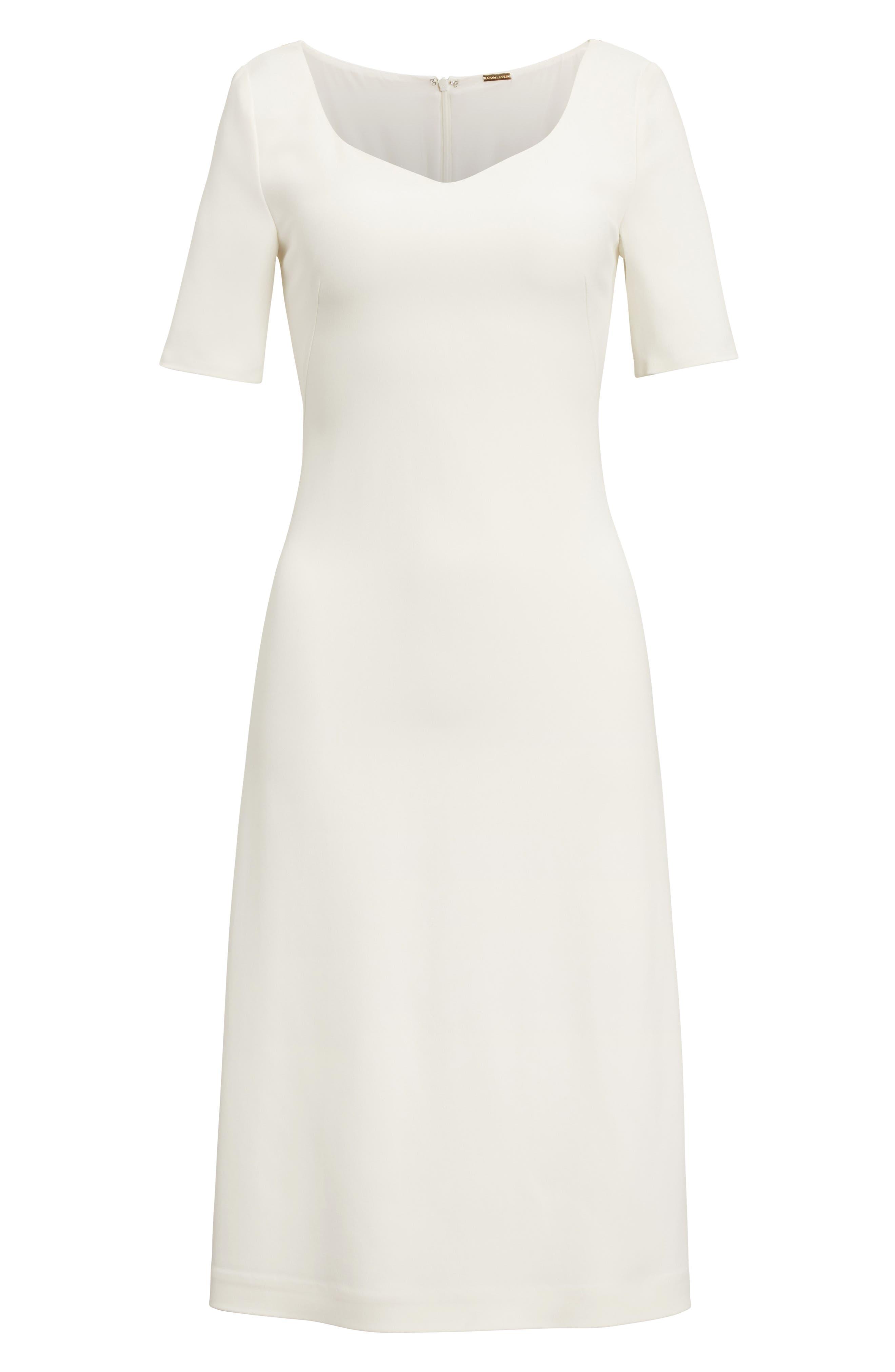 Stretch Cady Dress,                             Alternate thumbnail 4, color,                             Ivory