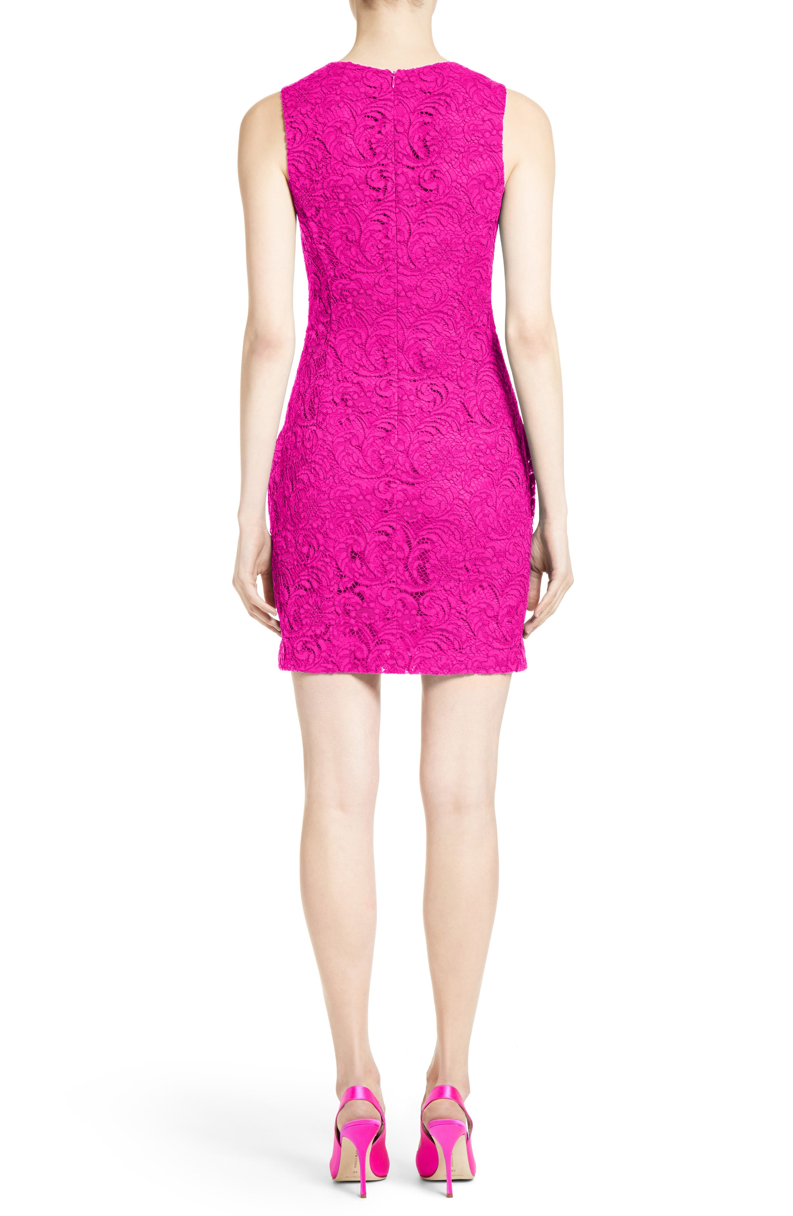 Lace Minidress,                             Alternate thumbnail 2, color,                             Fuchsia