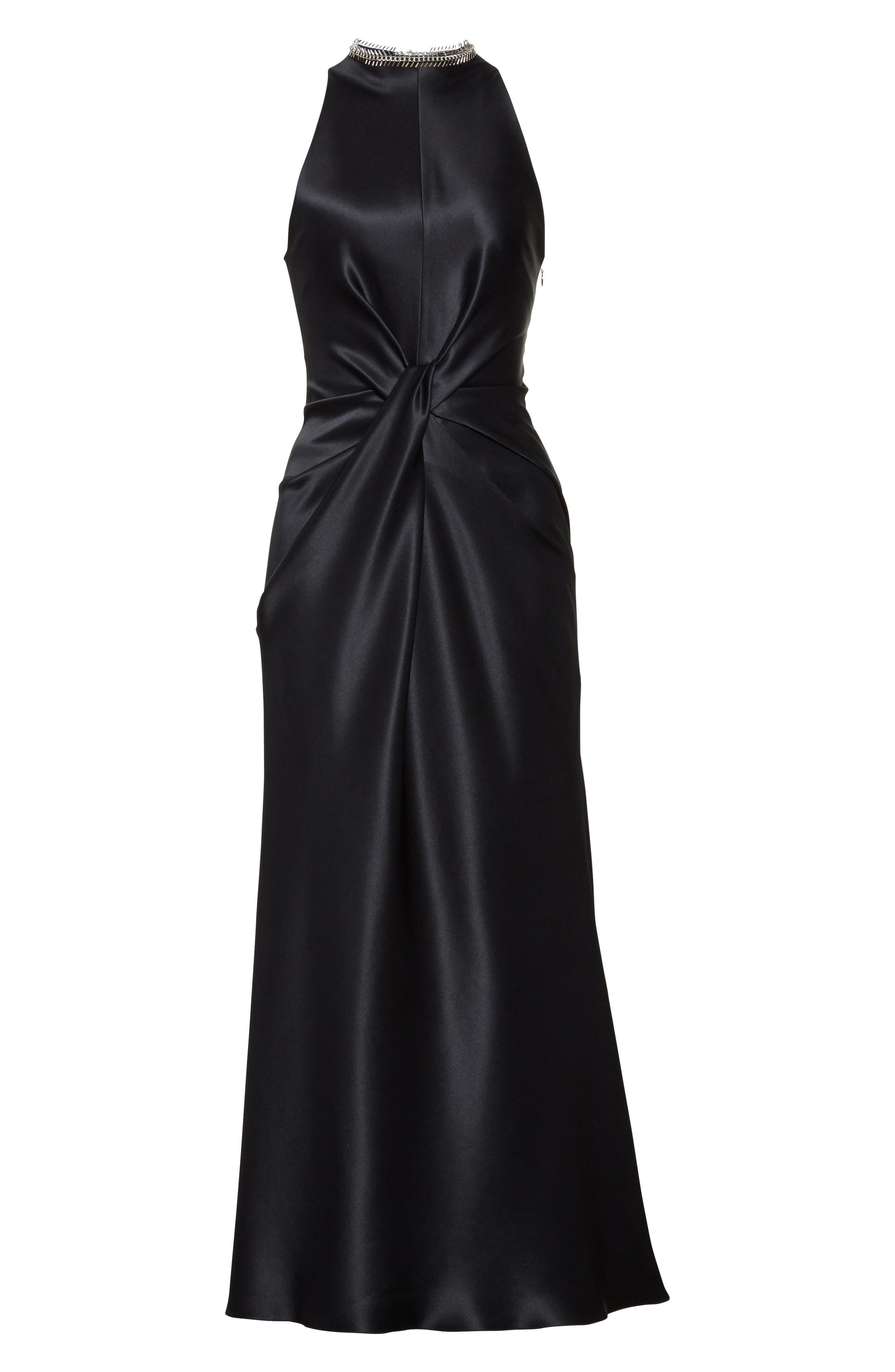 Fishbone Necklace Silk Satin Dress,                             Alternate thumbnail 4, color,                             Onyx