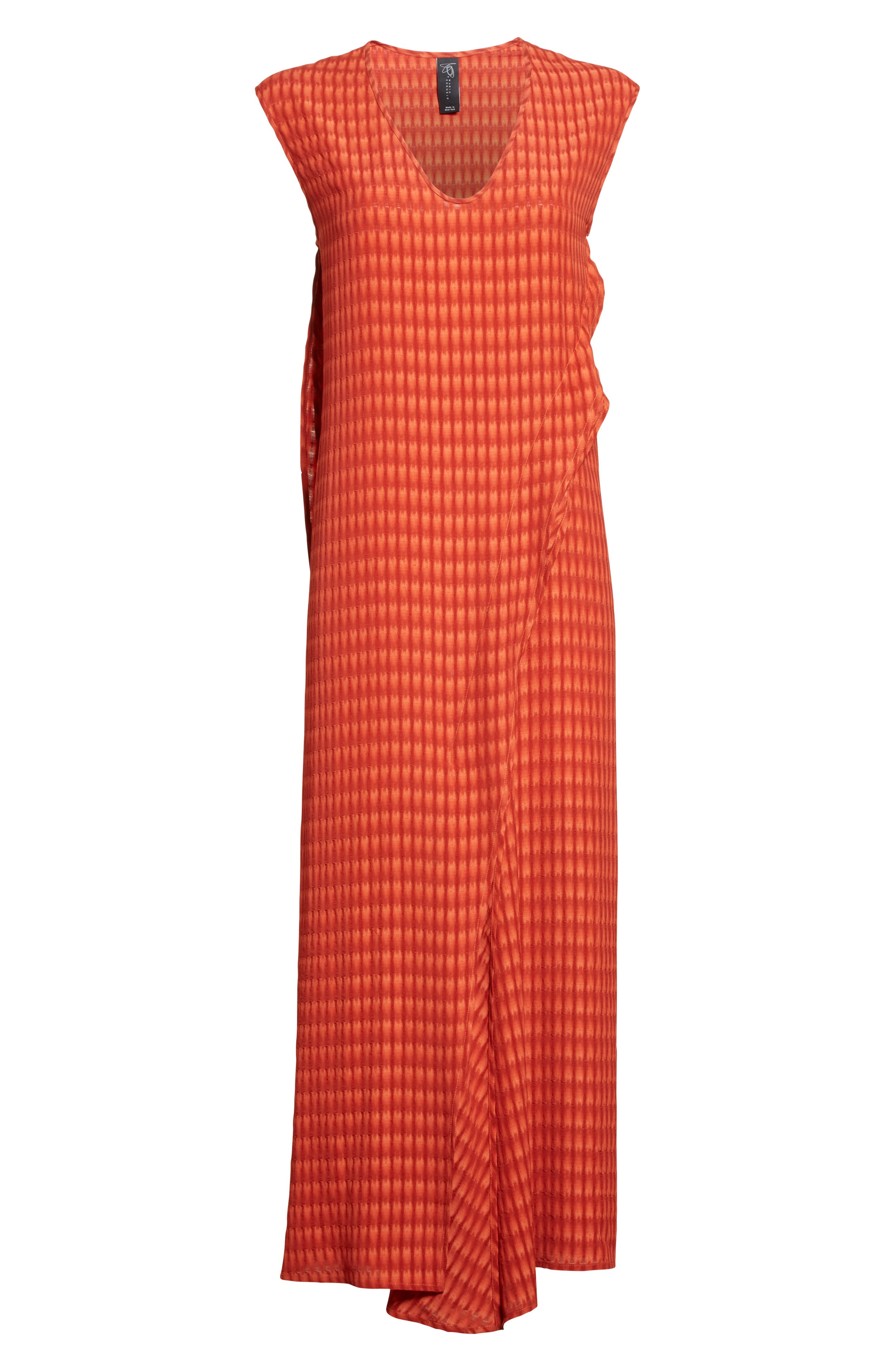 Twisted Tank Batik Plaid Dress,                             Alternate thumbnail 4, color,                             Saffron Red