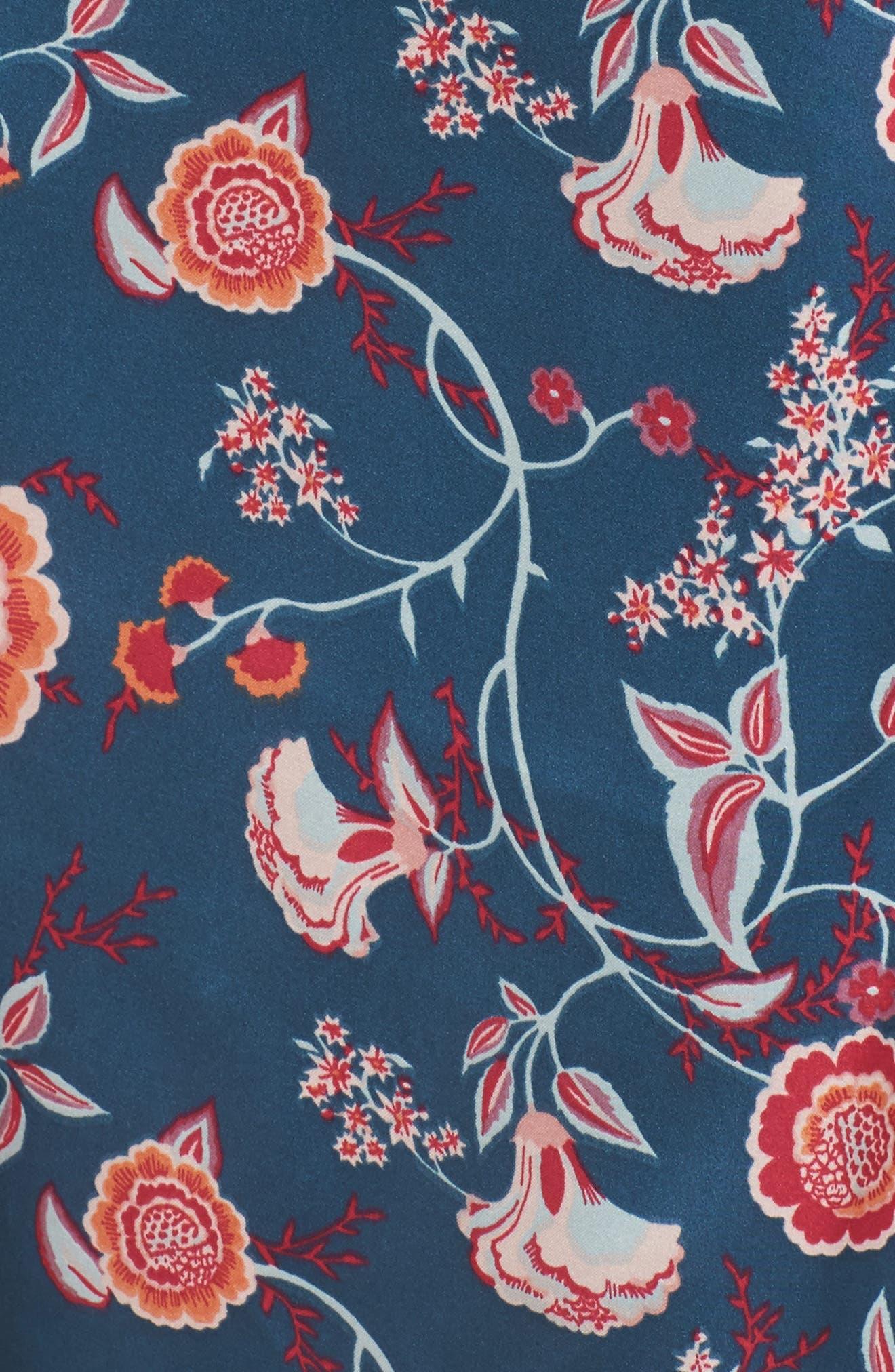Floral Print Satin Kimono,                             Alternate thumbnail 6, color,                             Blue Ceramic Vintage Floral