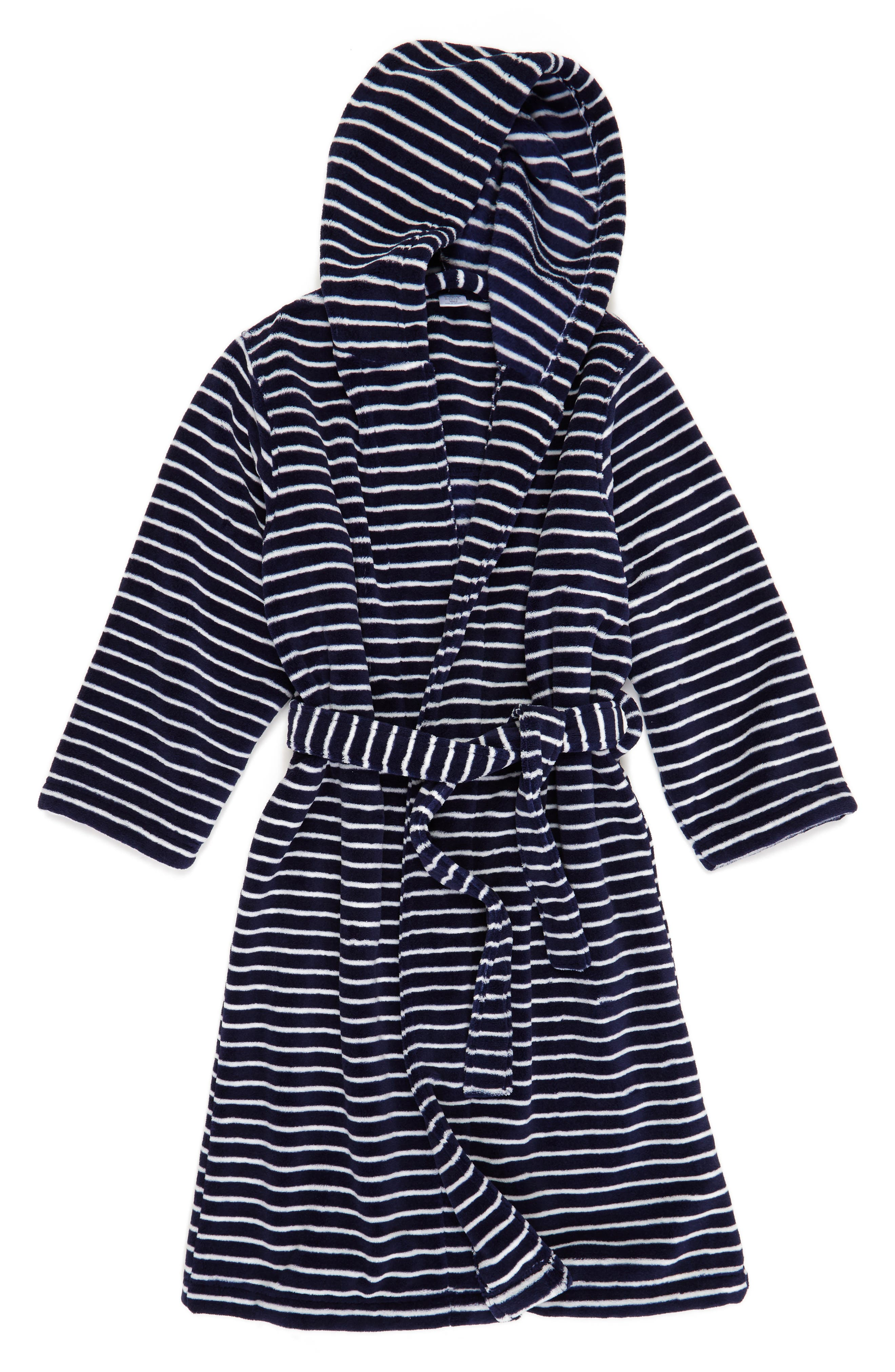 Hooded Plush Robe,                             Main thumbnail 1, color,                             Navy Peacoat- Ivory Stripe