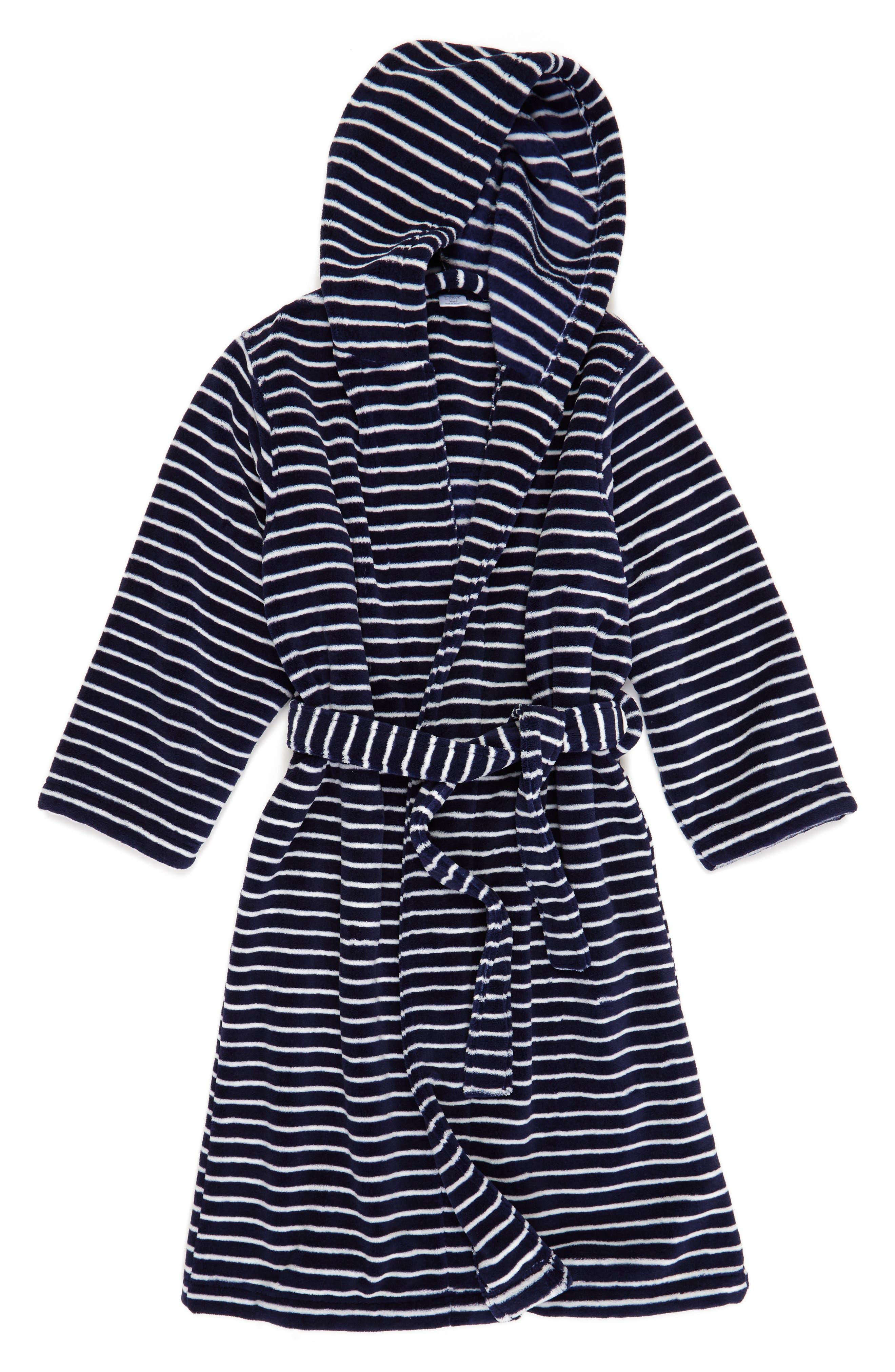 Hooded Plush Robe,                         Main,                         color, Navy Peacoat- Ivory Stripe