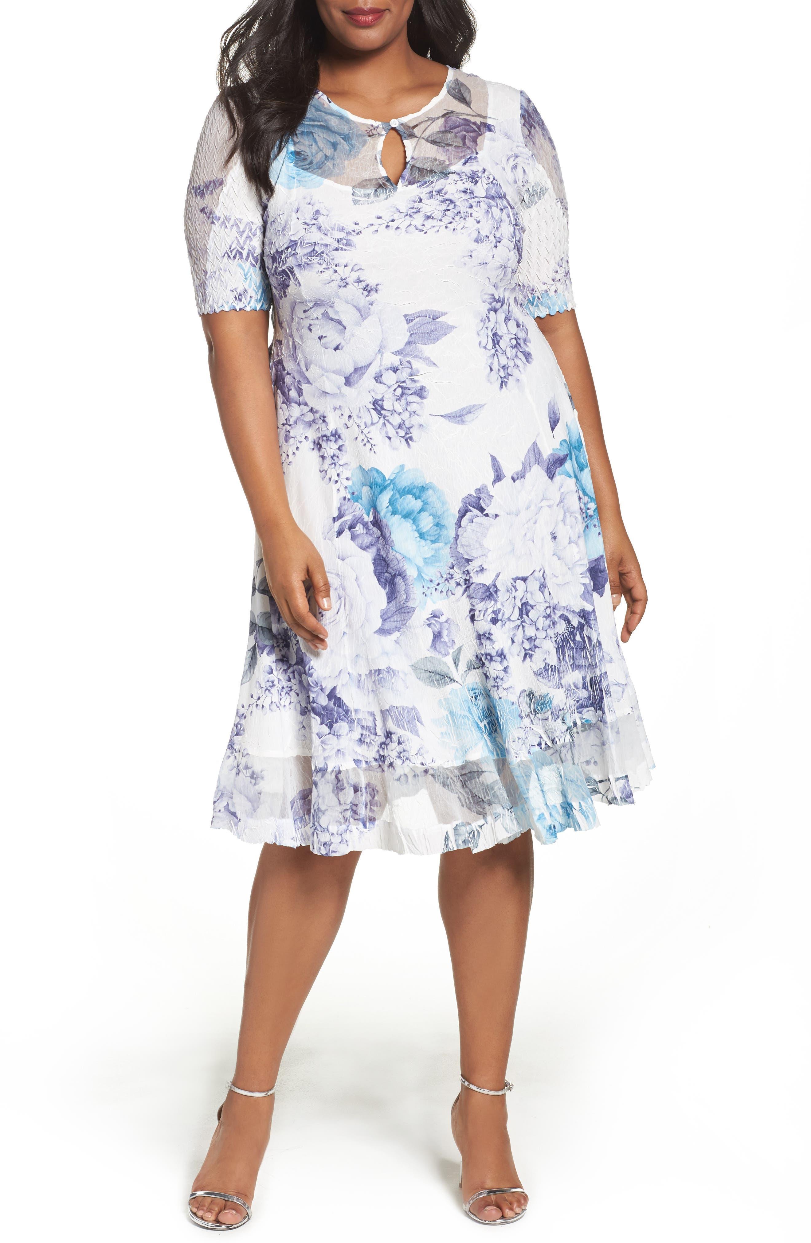KOMAROV Print Keyhole Chiffon A-Line Dress