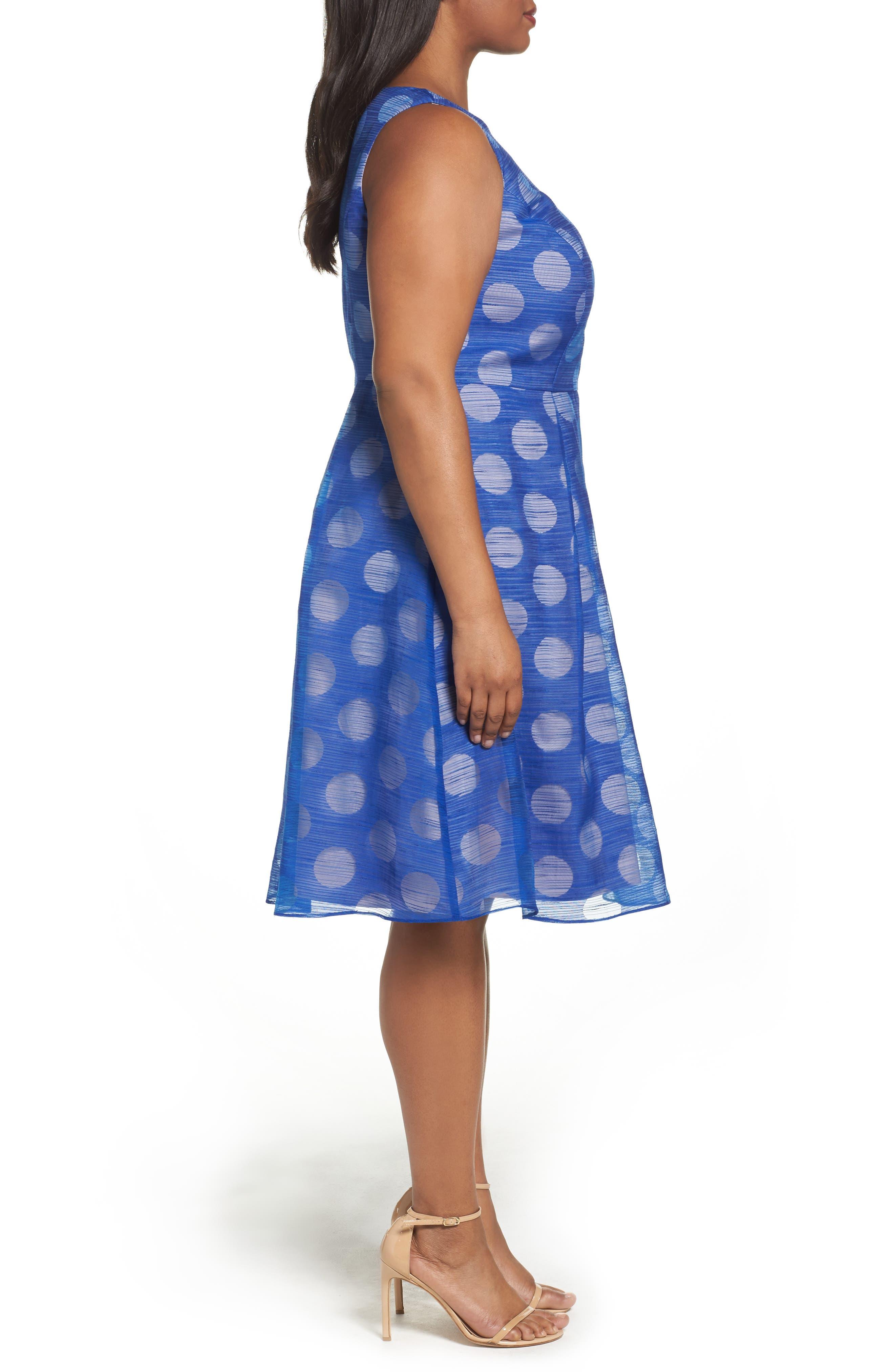 Pop Dot Burnout Fit & Flare Dress,                             Alternate thumbnail 3, color,                             Cobalt/ Blush