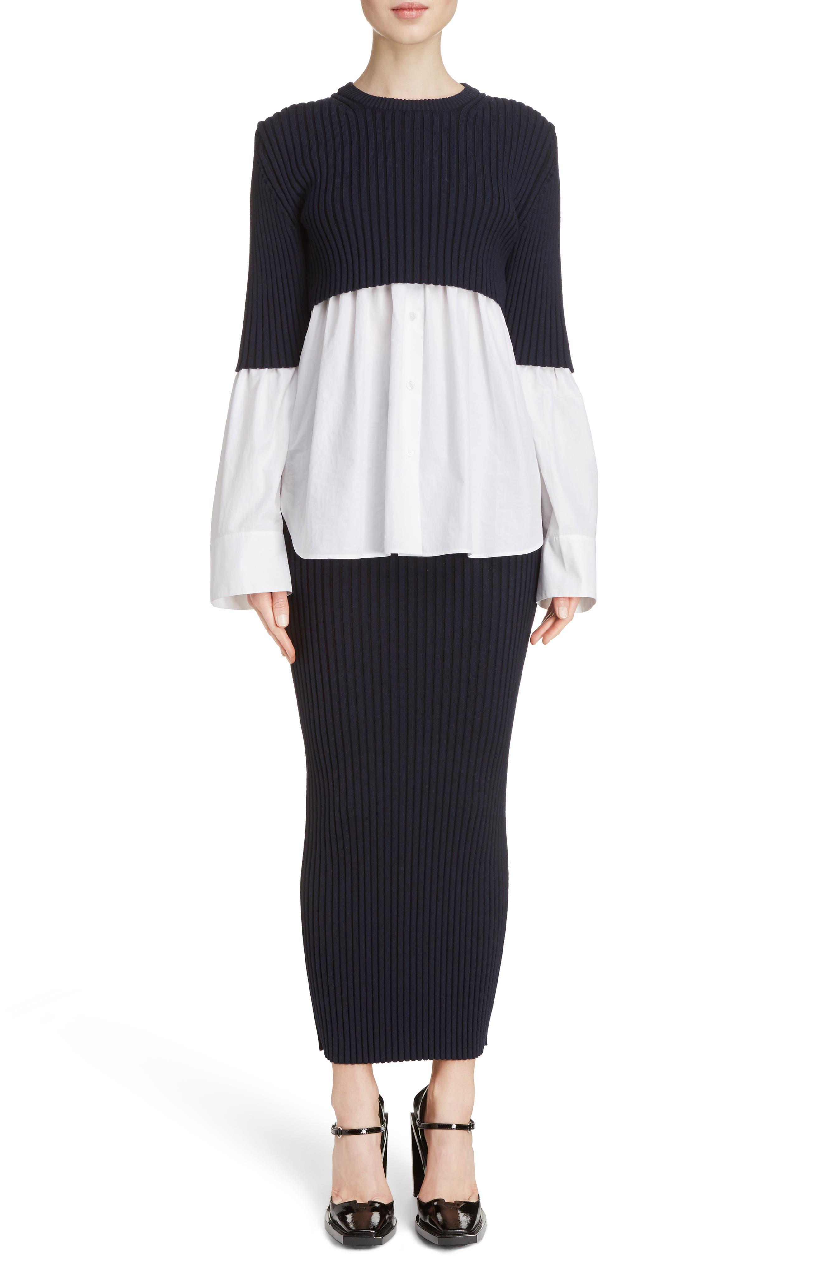 Alternate Image 2  - KENZO Knit Overlay Cotton Blouse
