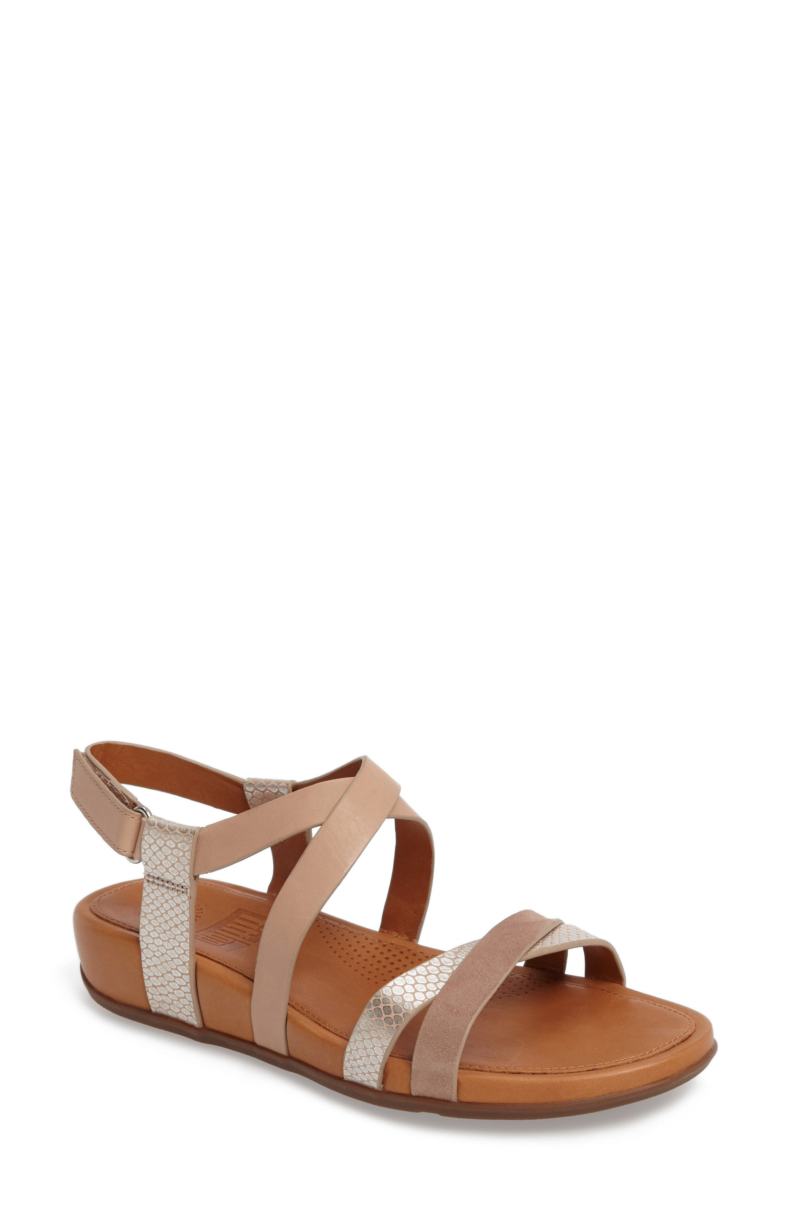 Lumy Crisscross Sandal,                         Main,                         color, Peachy/ Silver Snake Suede