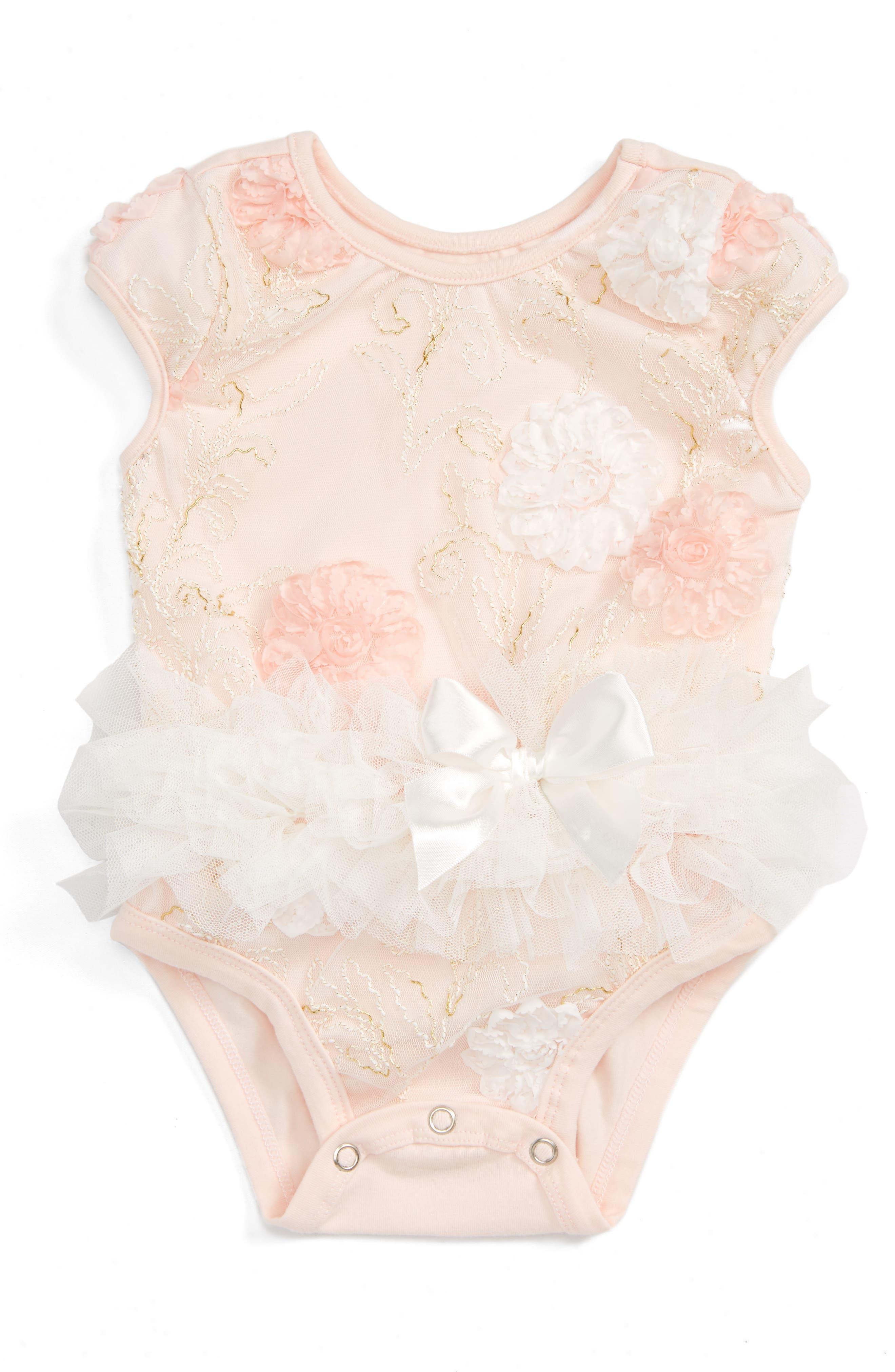 Floral Tutu Bodysuit,                         Main,                         color, Peach