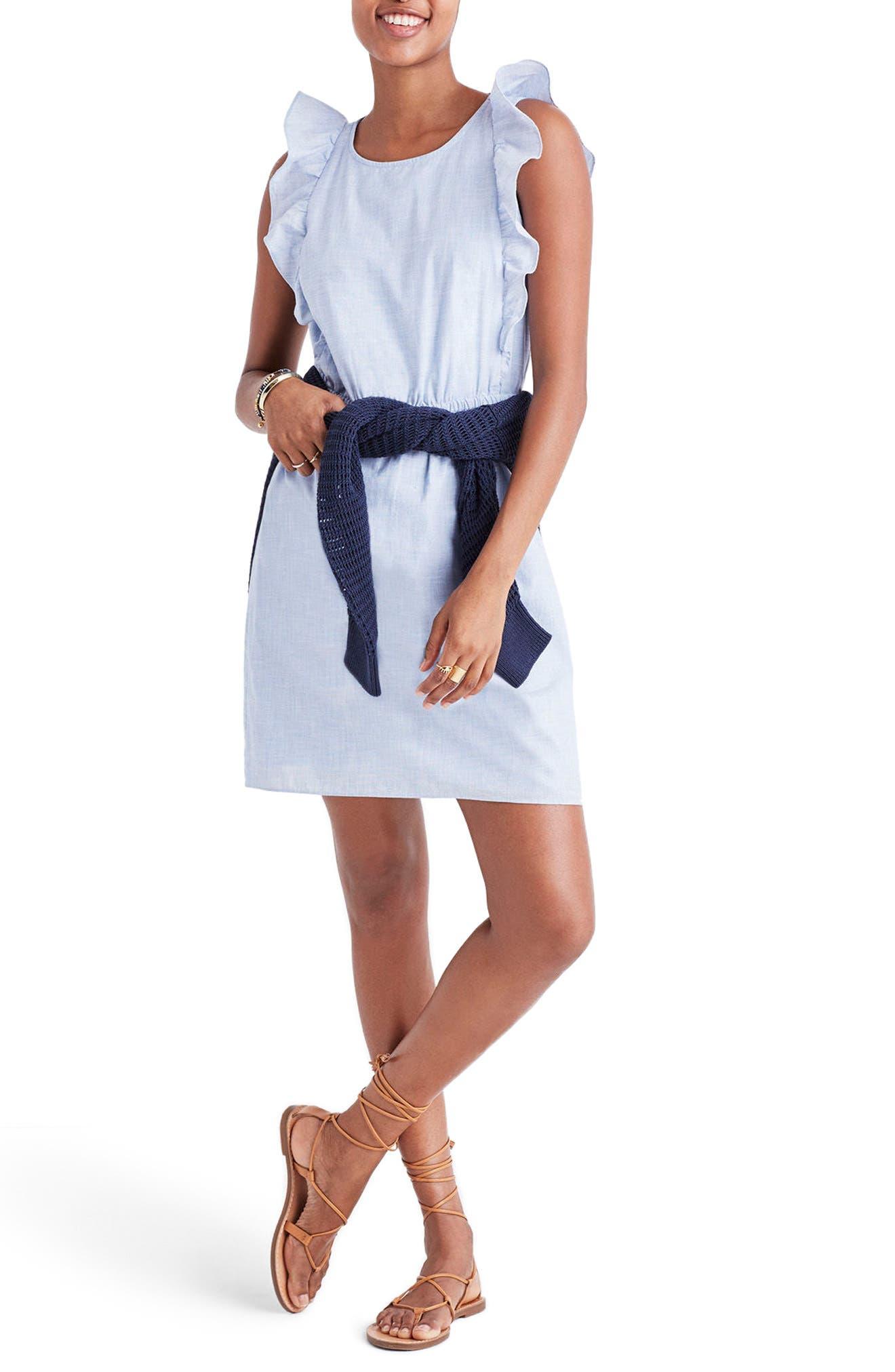 Bellflower Ruffle Dress,                             Alternate thumbnail 4, color,                             Craft Blue