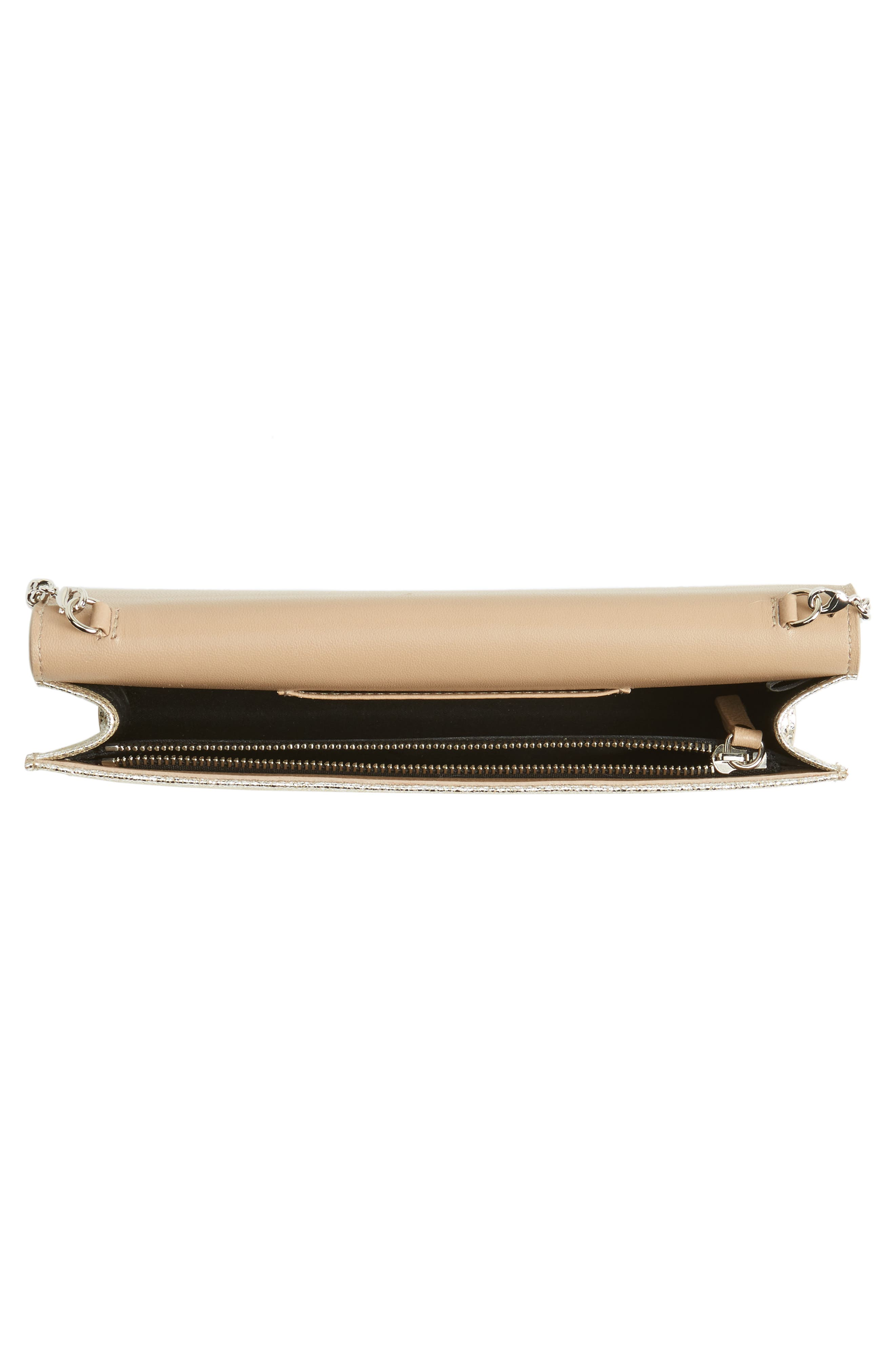 Fie Metallic Leather Clutch,                             Alternate thumbnail 3, color,                             Champagne