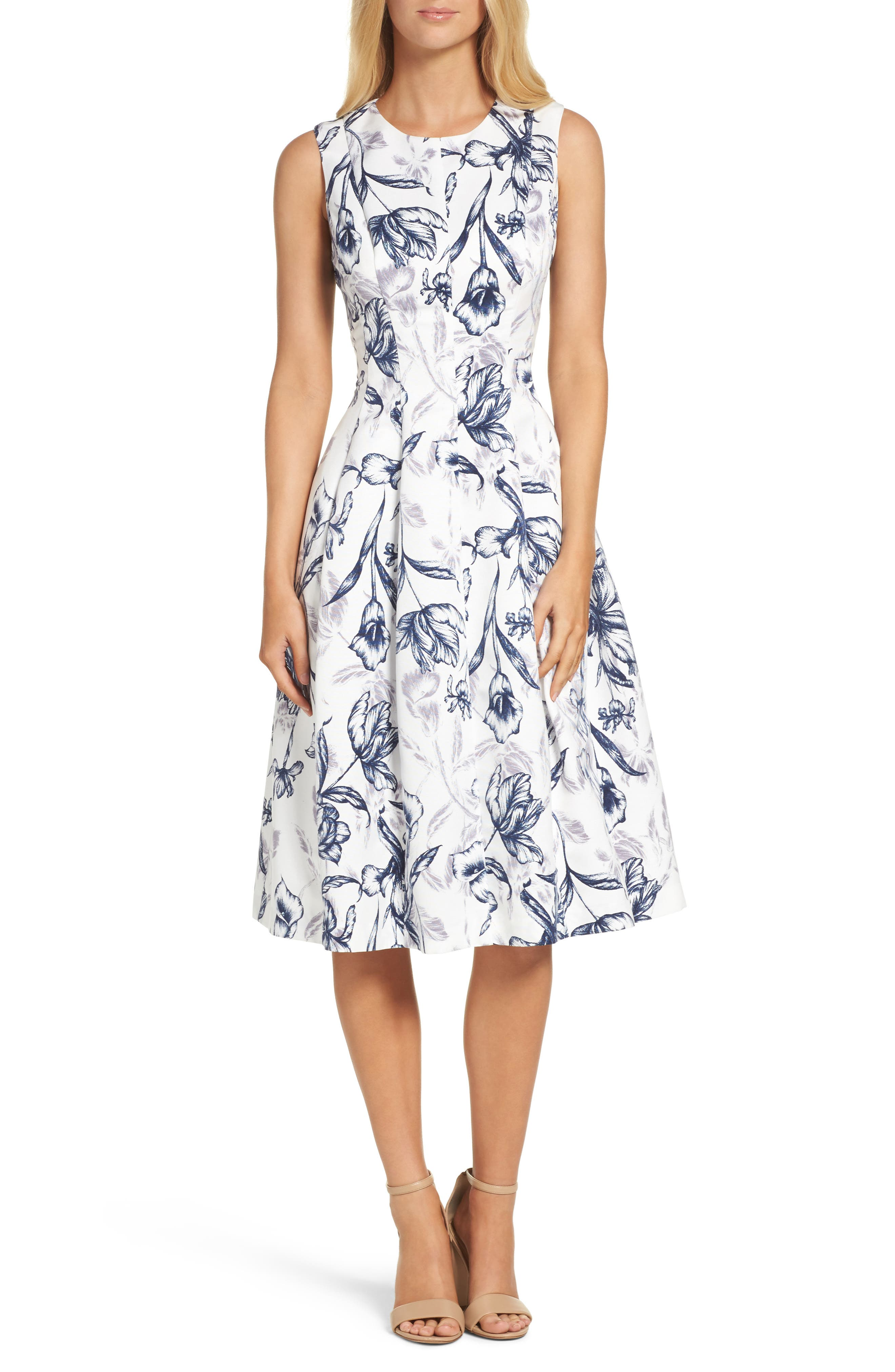Fit & Flare Dress,                         Main,                         color, Ivory/ Navy
