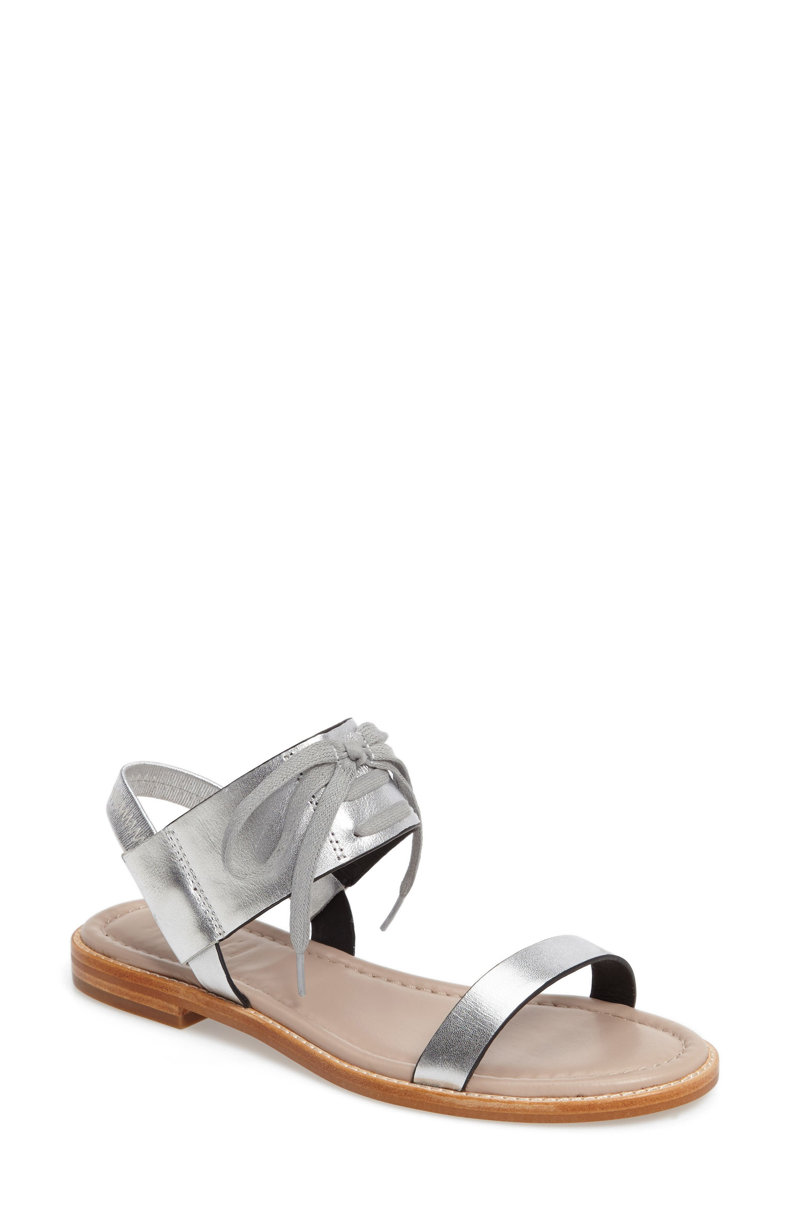 M4D3 Hailey Slingback Sandal,                             Main thumbnail 1, color,                             Silver Leather