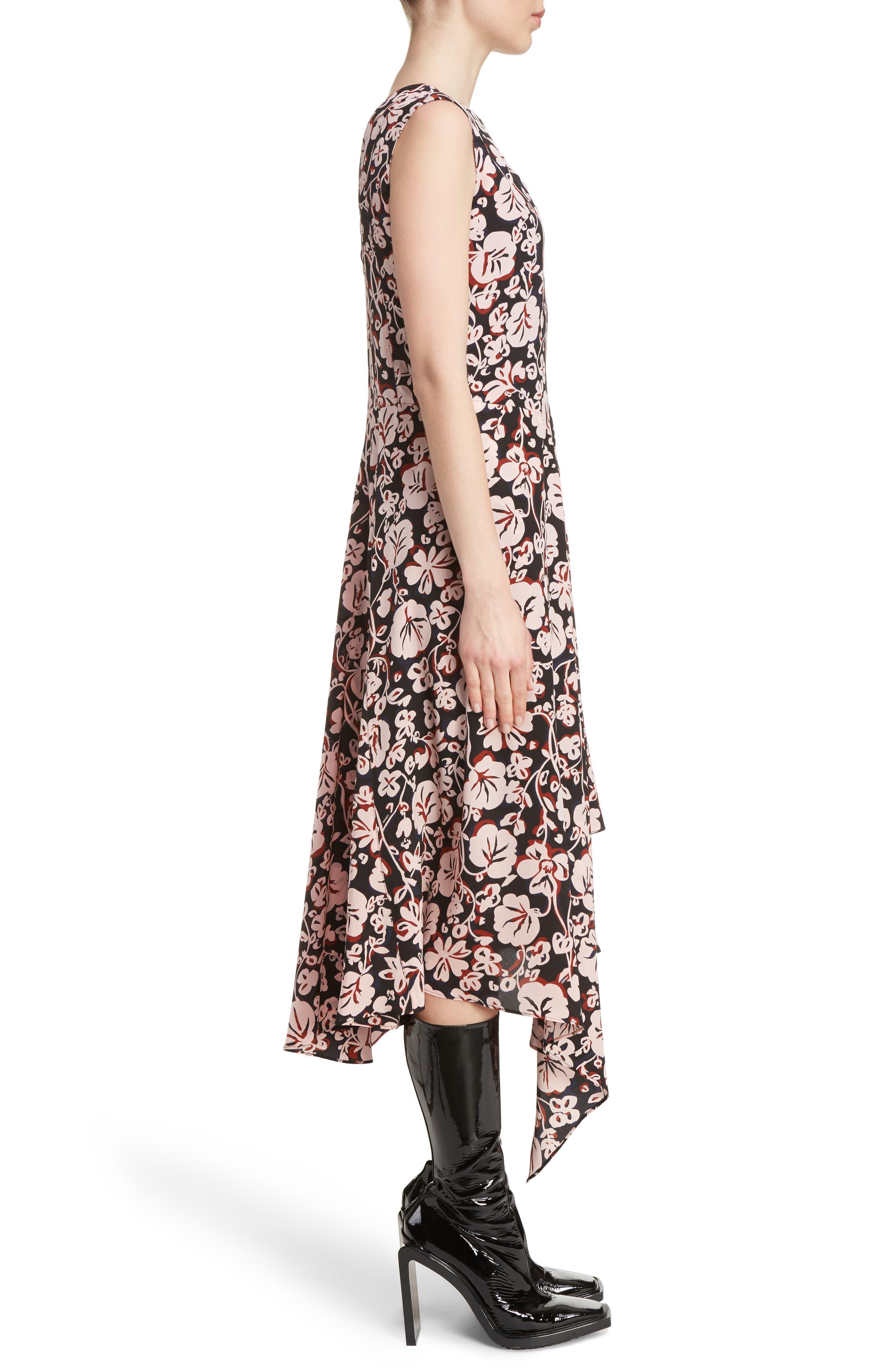 Alternate Image 3  - KENZO Print Silk Handkerchief Hem Dress