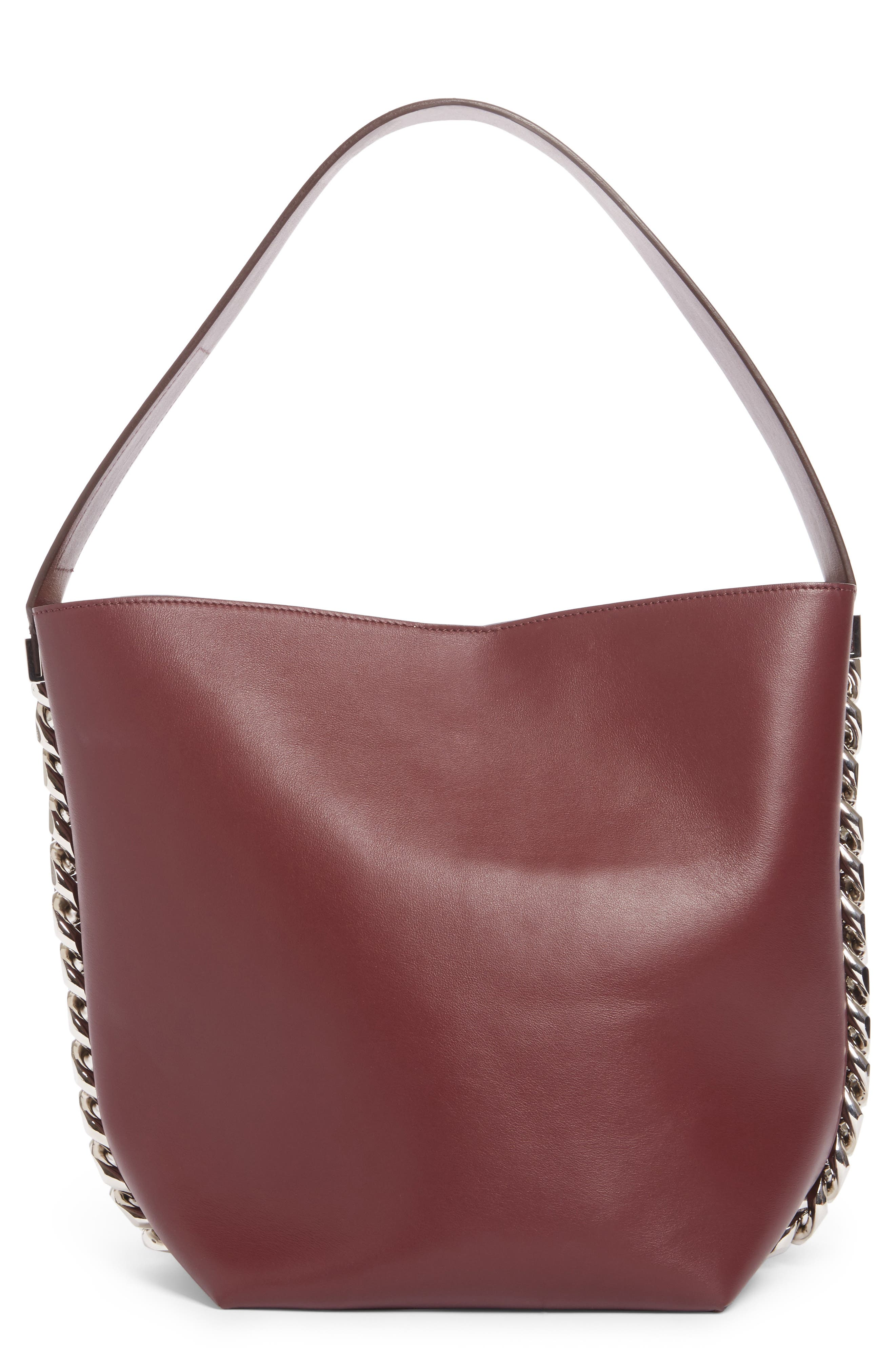 Infinity Calfskin Leather Bucket Bag,                             Main thumbnail 1, color,                             Oxblood