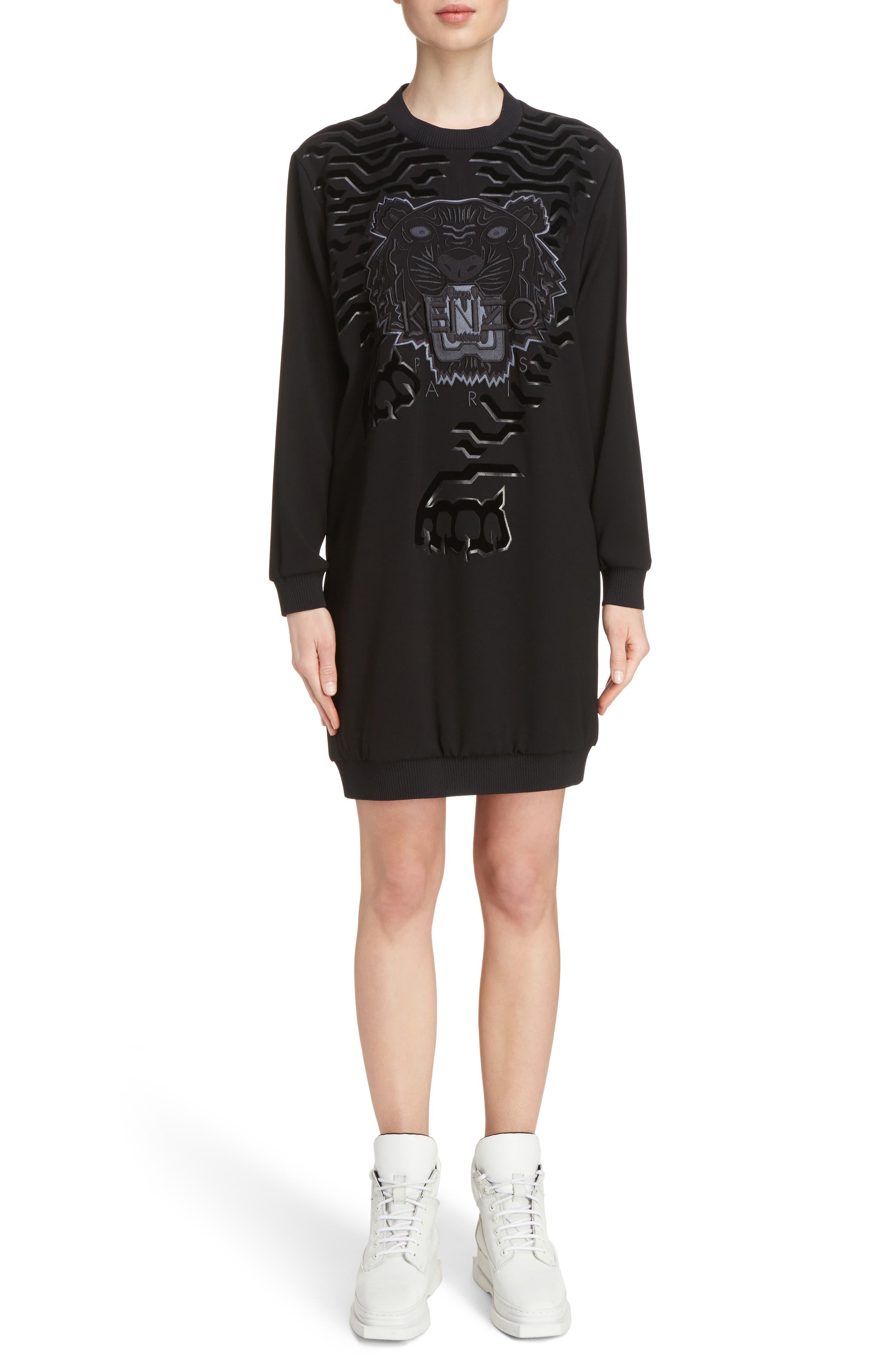 Tiger Sweater Dress,                         Main,                         color, Black