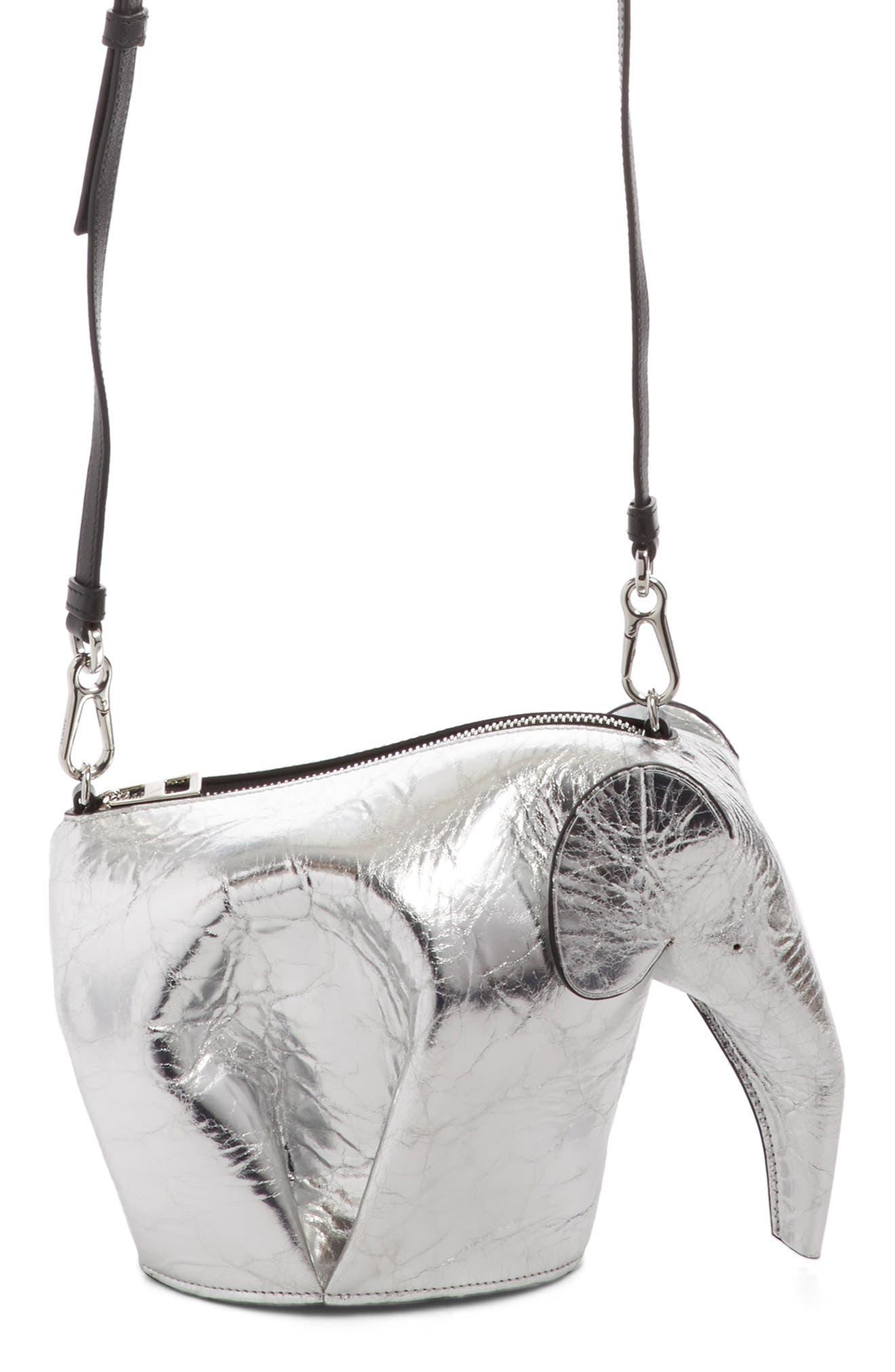 Mini Elephant Calfskin Leather Crossbody Bag,                             Alternate thumbnail 4, color,                             Silver