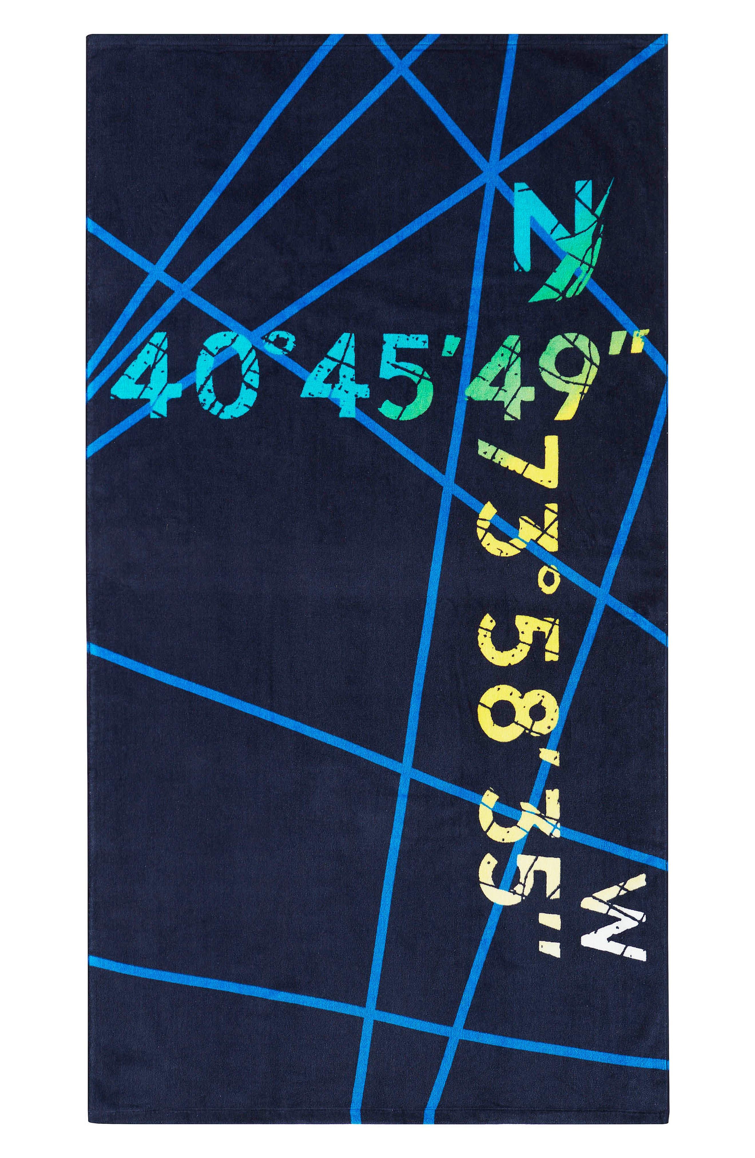 Shoreline Beach Towel,                             Main thumbnail 1, color,                             Blue