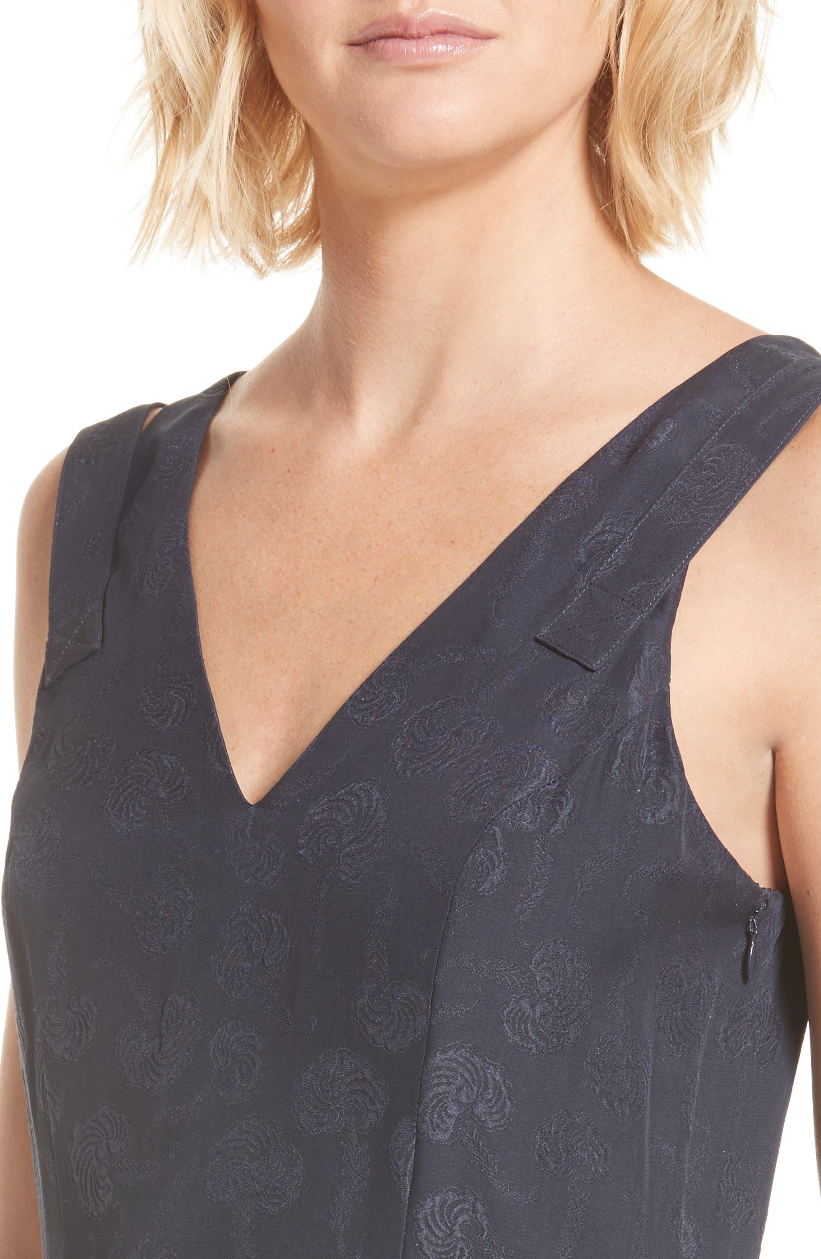 Barbell Detail Silk Jacquard Midi Dress,                             Alternate thumbnail 4, color,                             Midnight