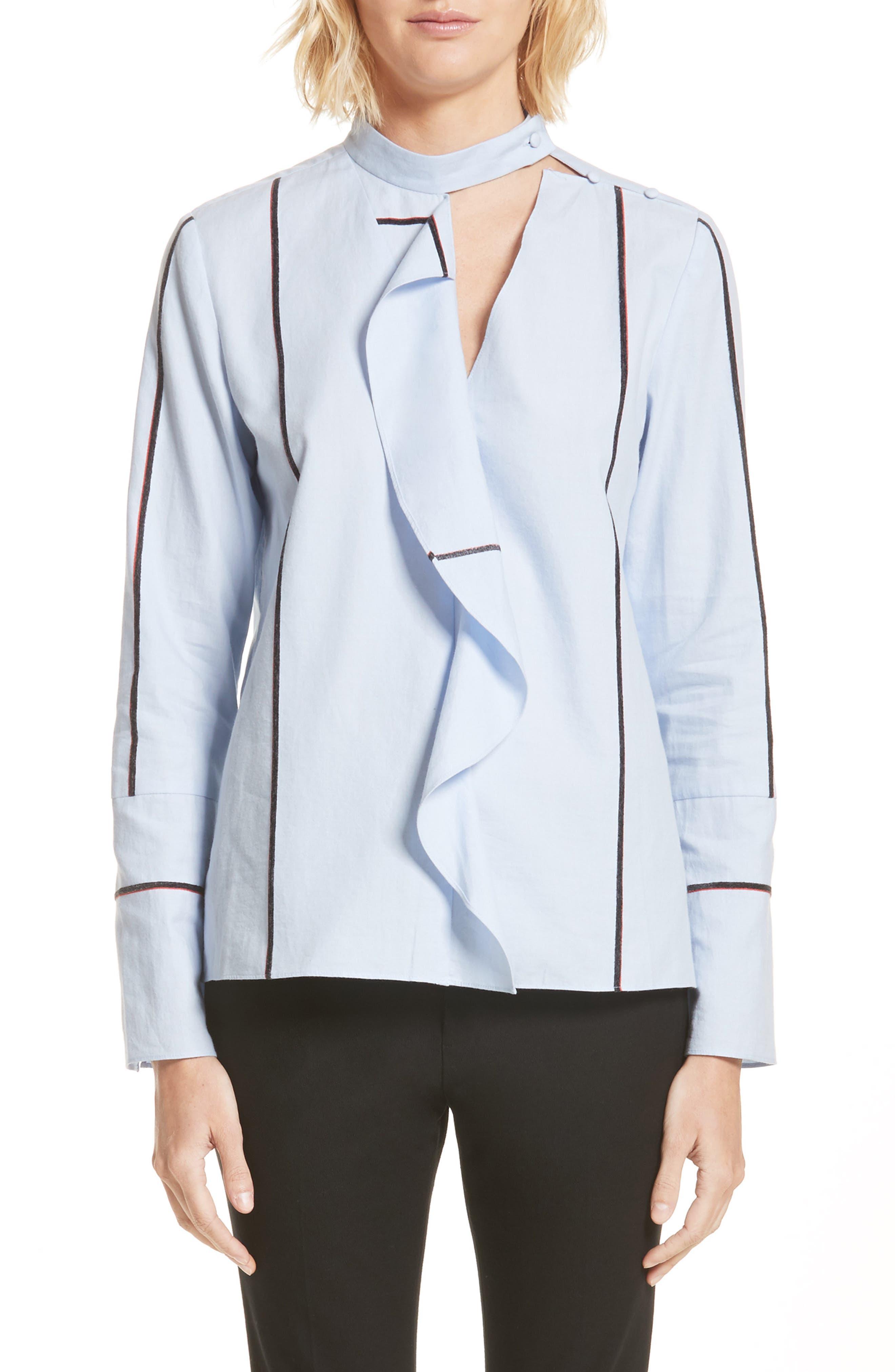 Main Image - Derek Lam 10 Crosby Stripe Cascade Ruffle Shirt