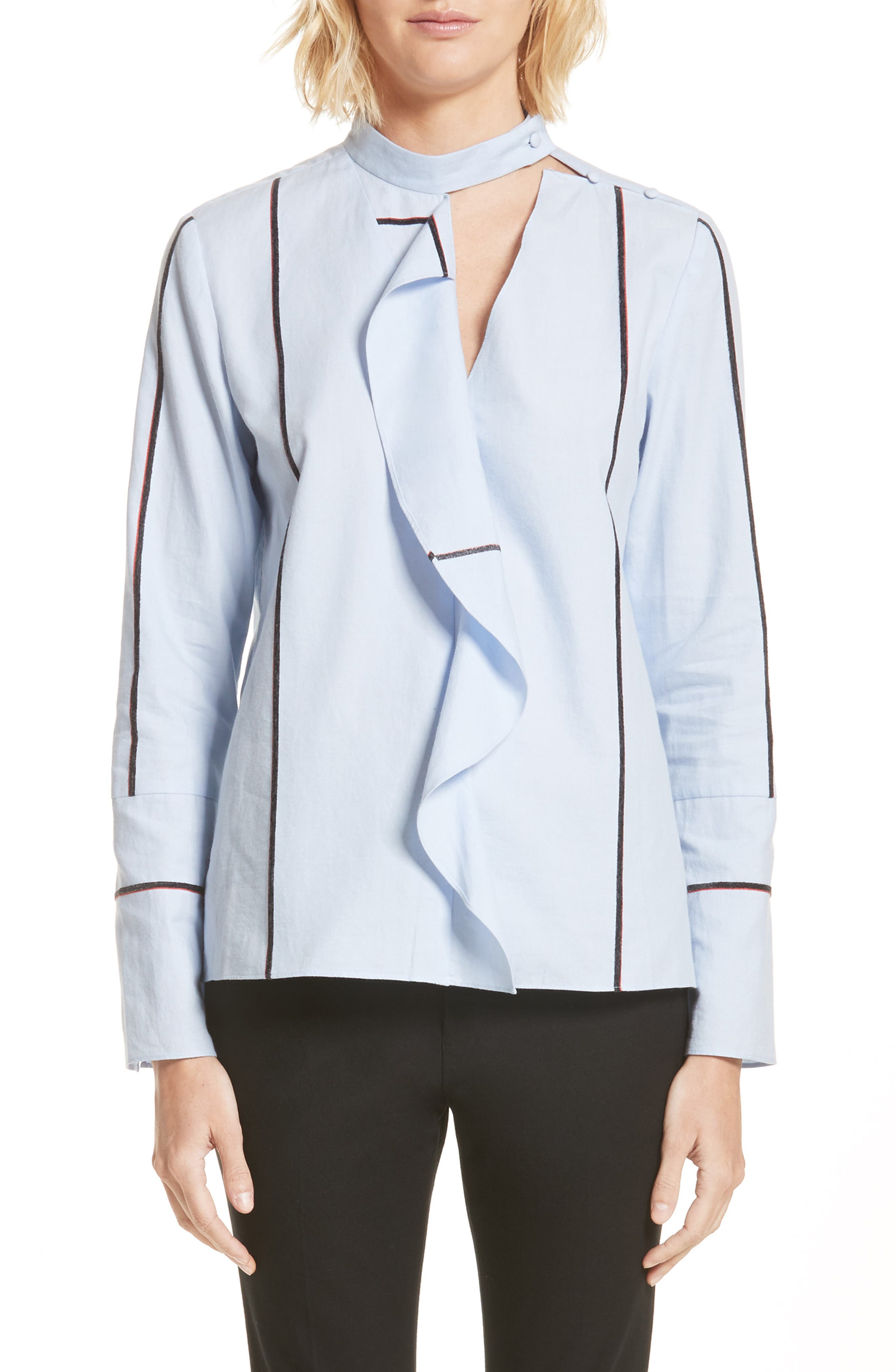 Stripe Cascade Ruffle Shirt,                         Main,                         color, Oxford