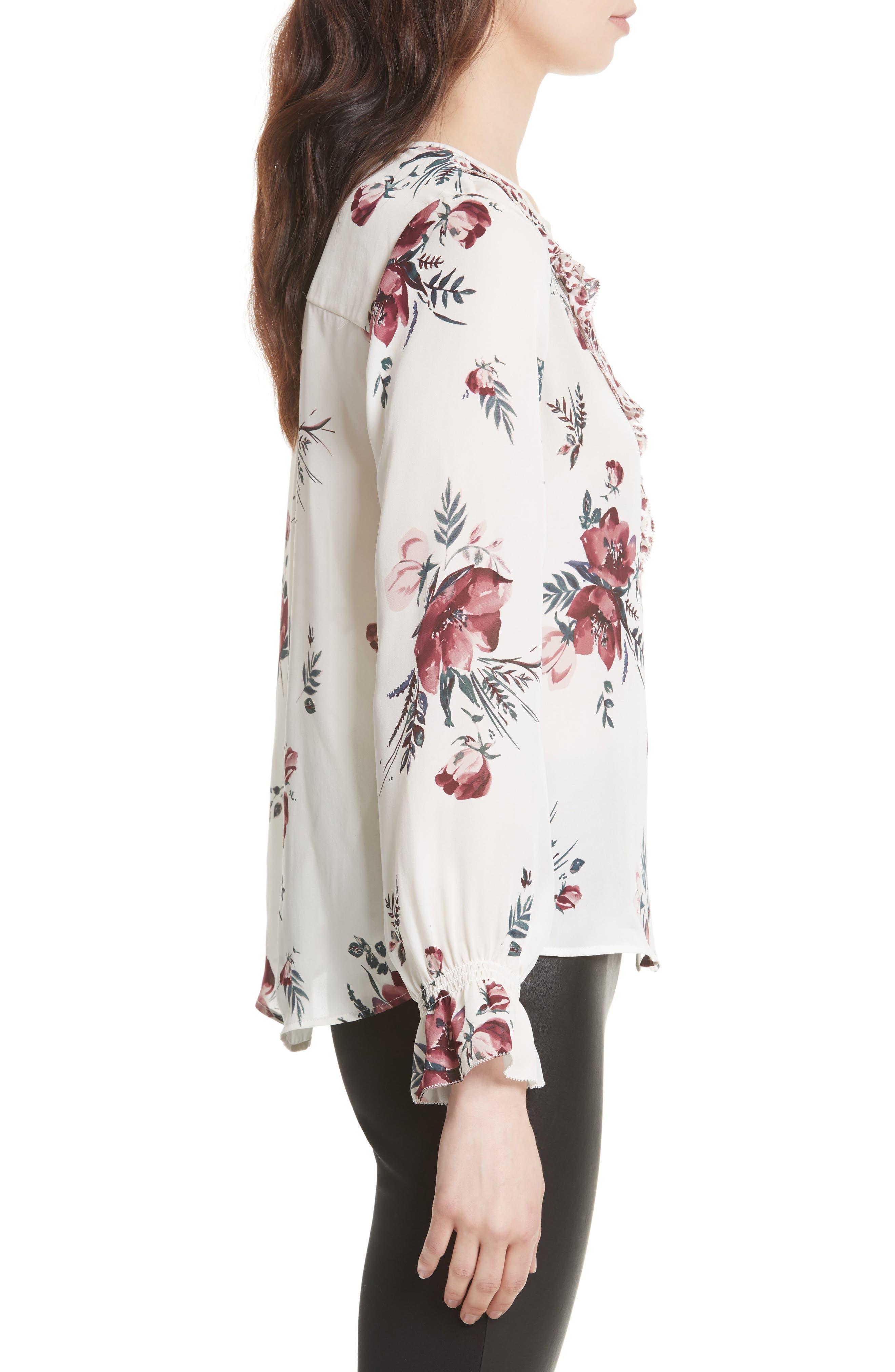 Alternate Image 3  - Joie Jayann B Ruffle Front Floral Silk Blouse