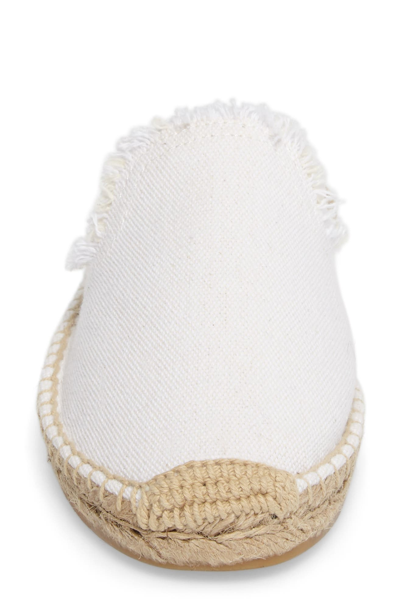 Frayed Loafer Mule,                             Alternate thumbnail 4, color,                             White Canvas