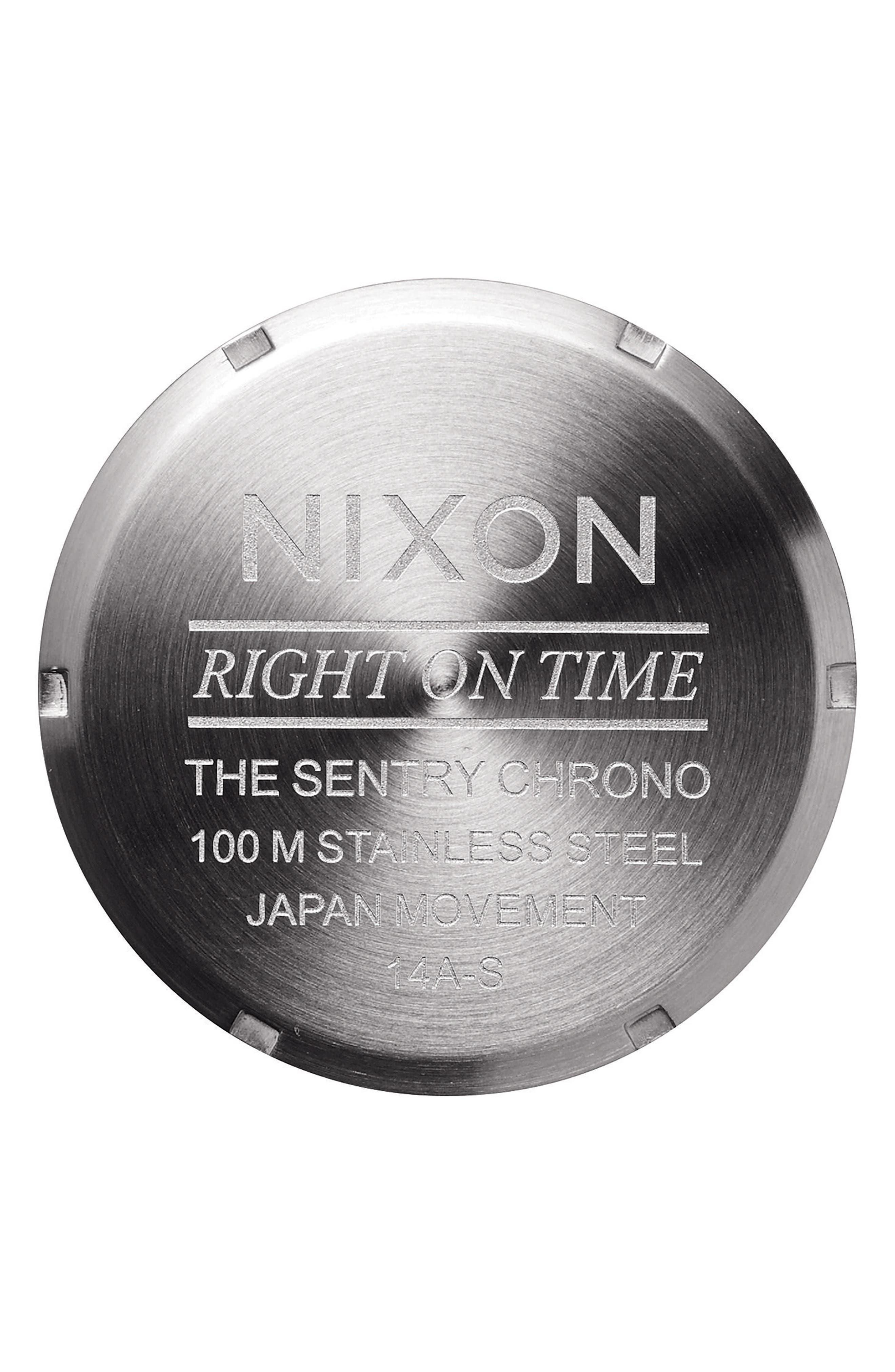 Alternate Image 4  - Nixon 'Sentry Chrono' Embossed Leather Strap Watch, 42mm