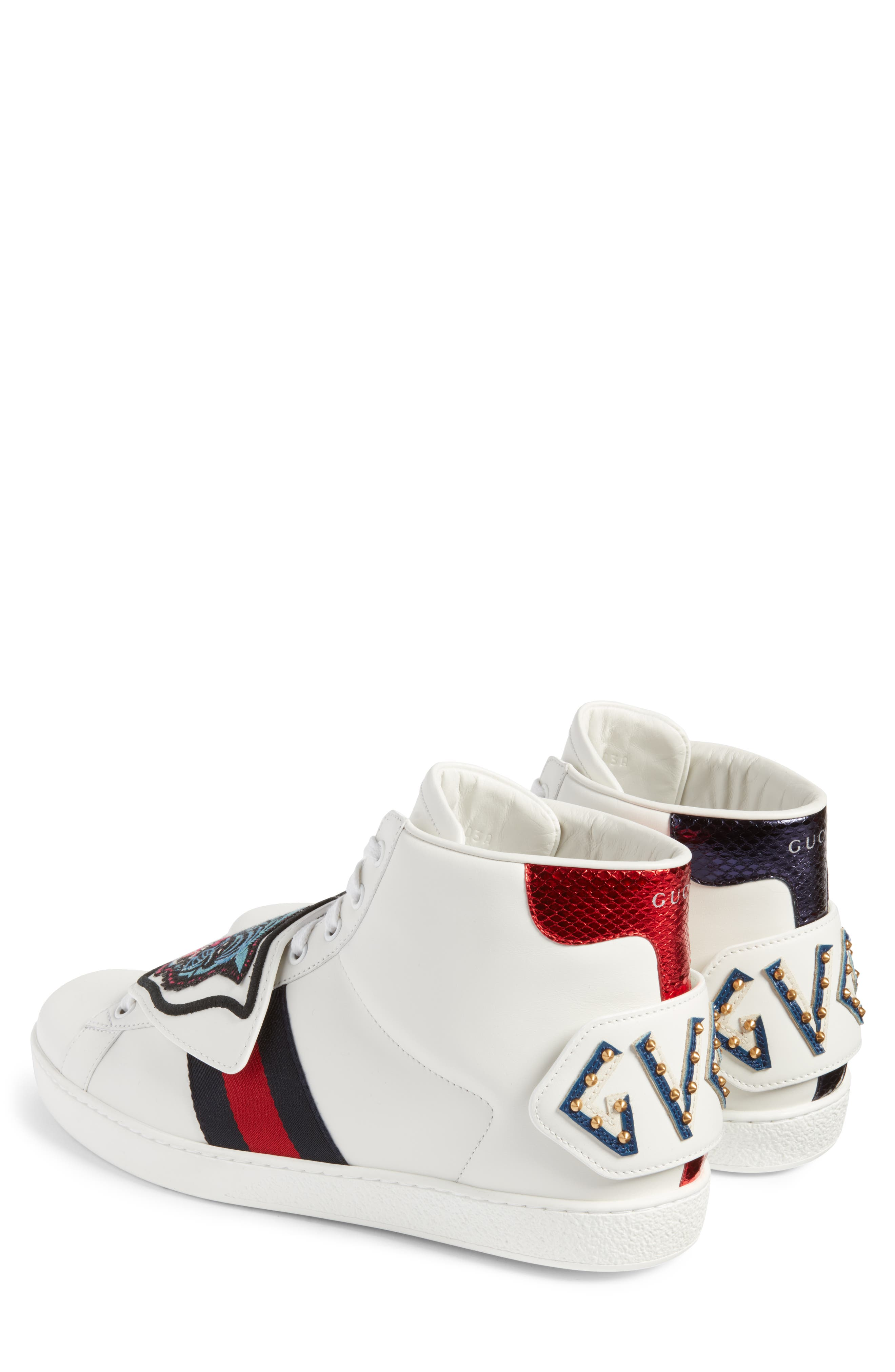 New Ace Jaguar Embroidered Patch High Top Sneaker,                             Alternate thumbnail 2, color,                             Bianco