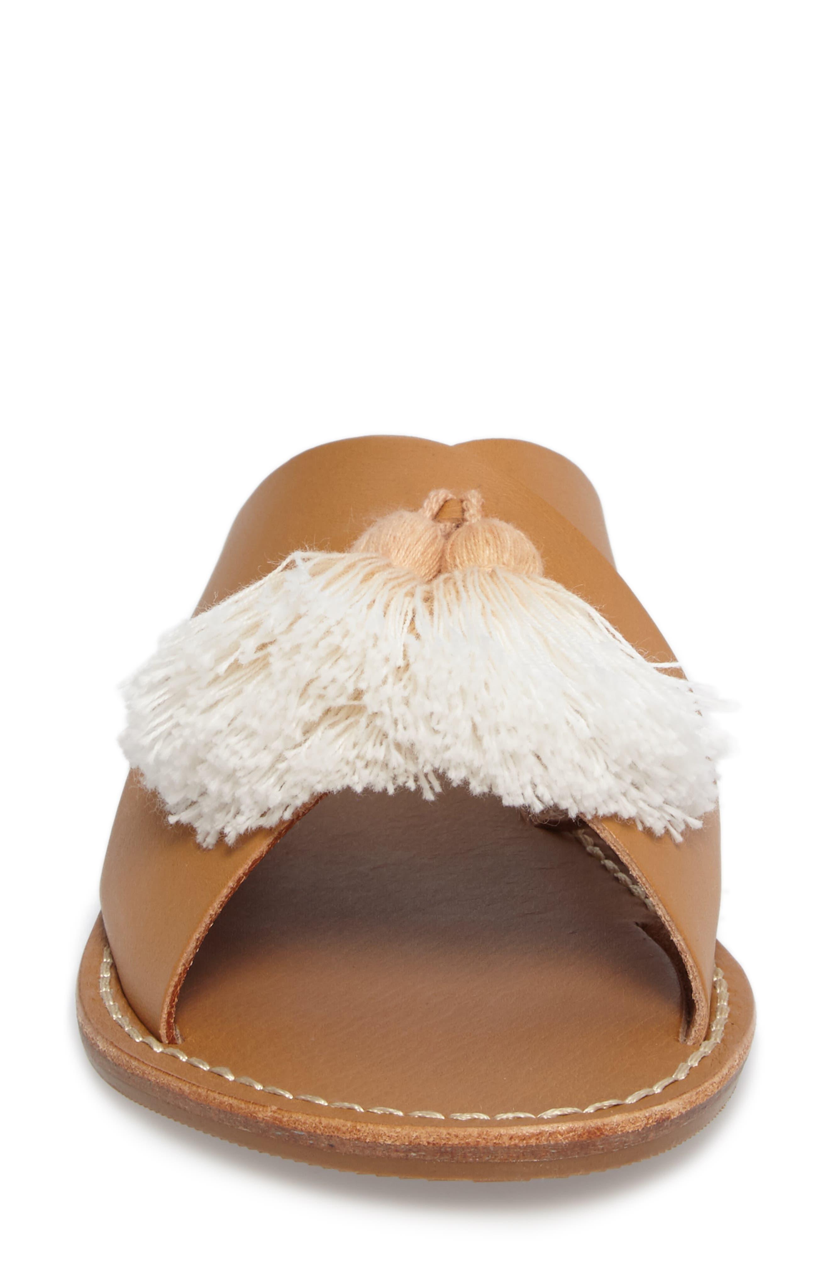 Tassel Slide Sandal,                             Alternate thumbnail 4, color,                             Brown Leather