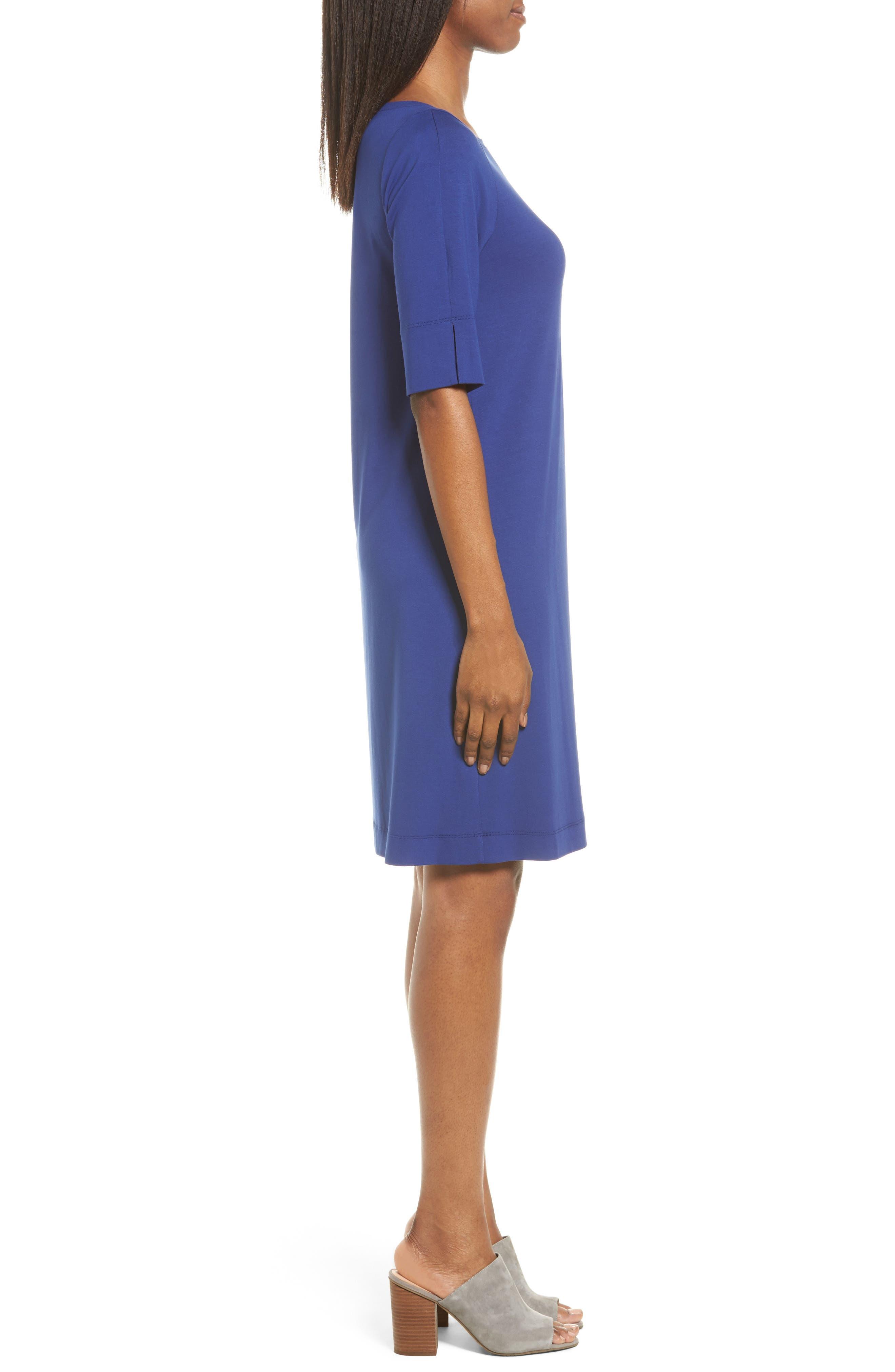 Jersey Shift Dress,                             Alternate thumbnail 4, color,                             Persian Blue