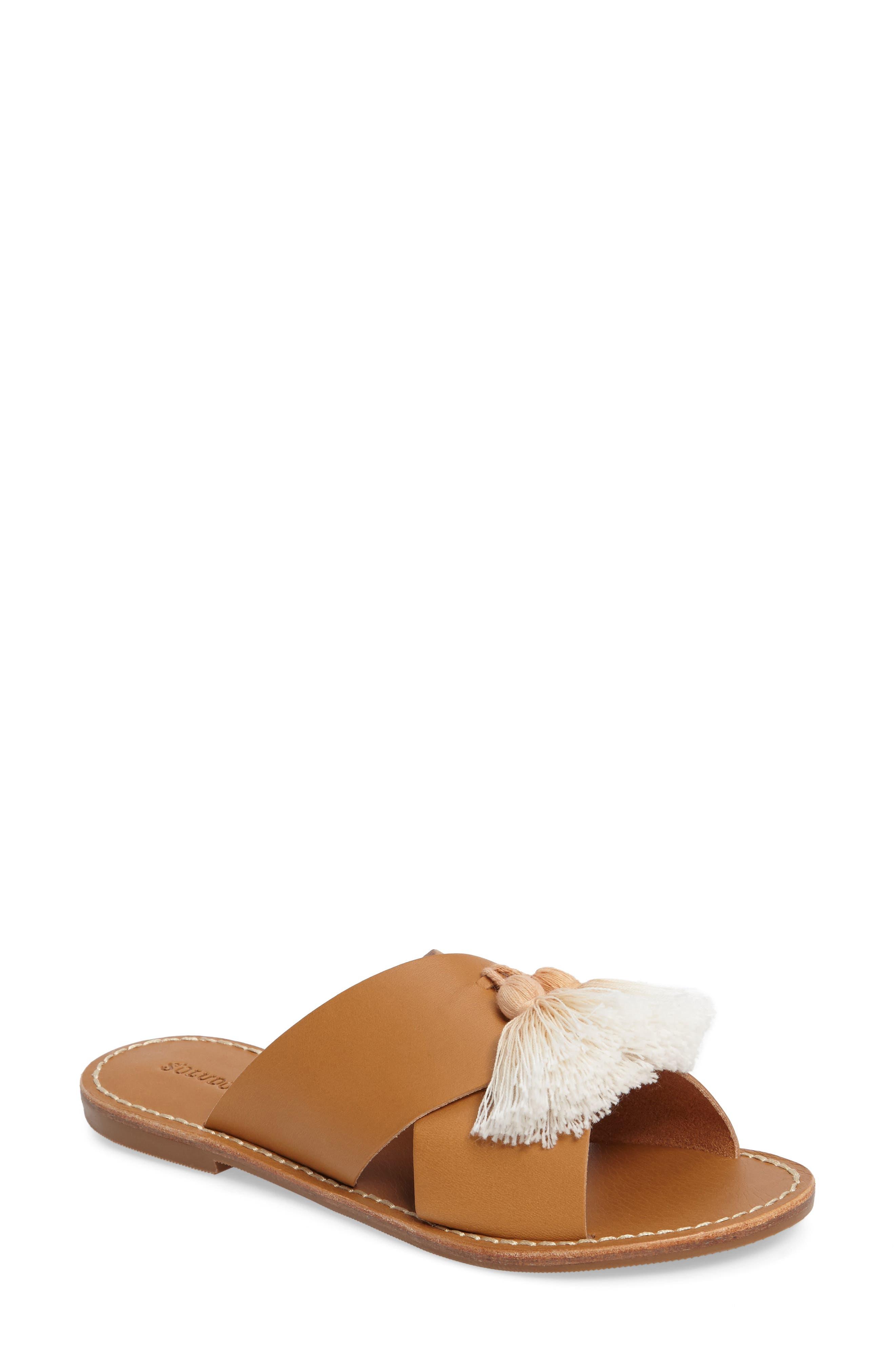 Tassel Slide Sandal,                         Main,                         color, Brown Leather