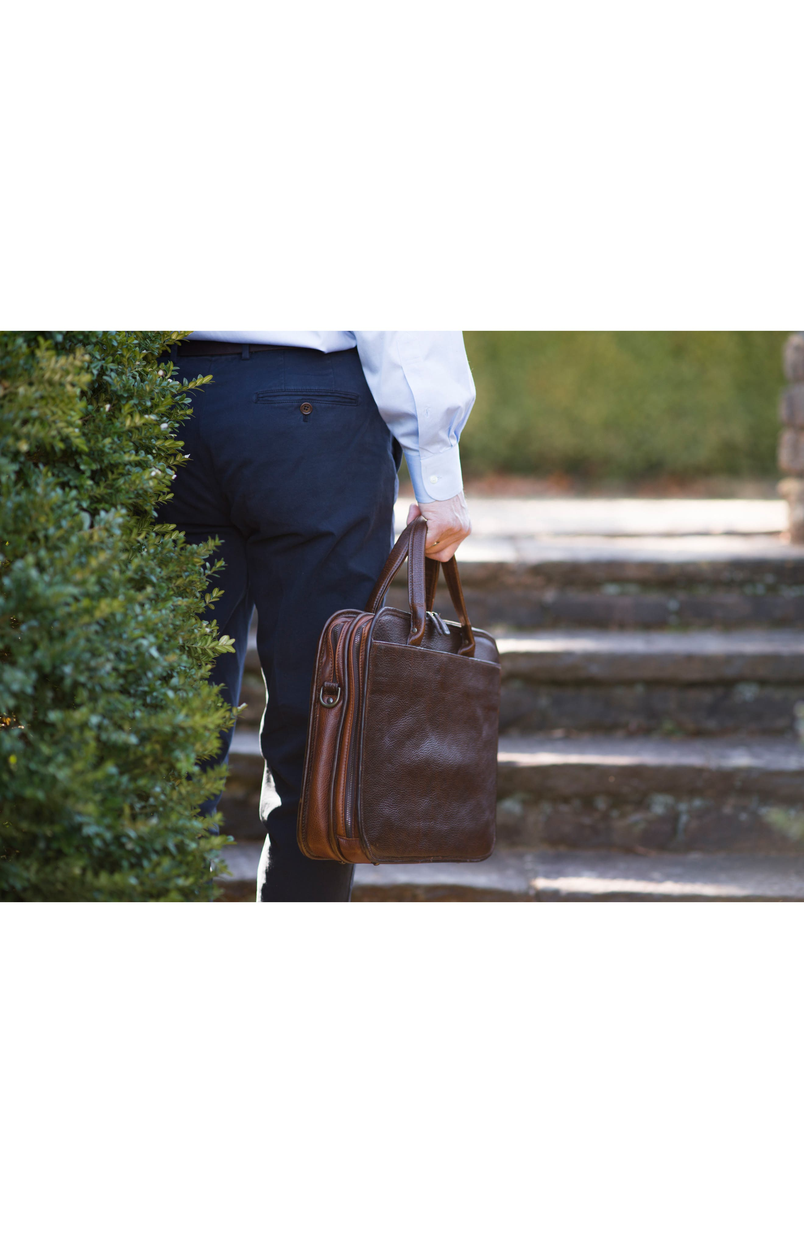Miller Leather Briefcase,                             Alternate thumbnail 6, color,                             Titan Milled Brown