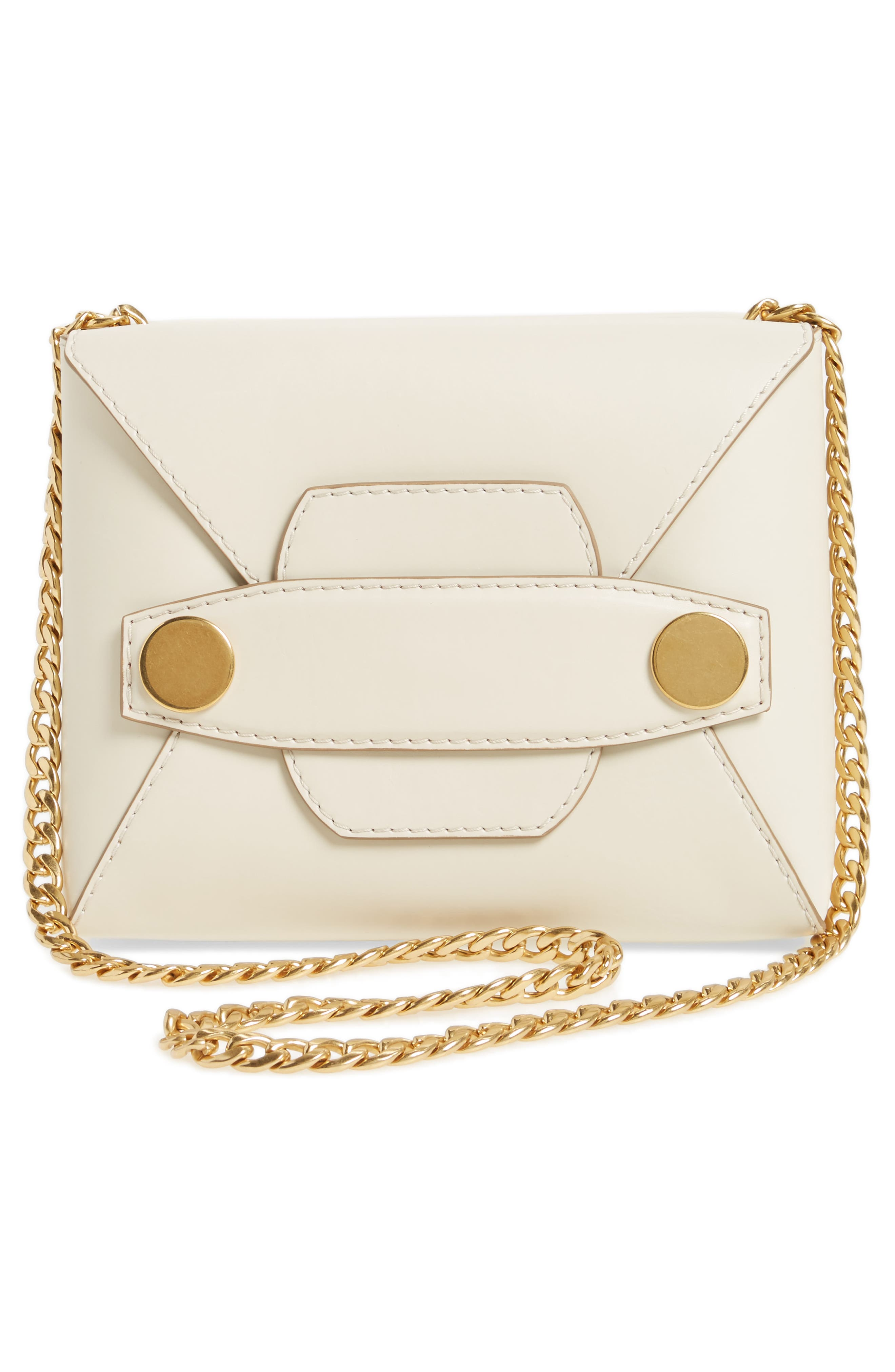 Small Faux Leather Crossbody Bag,                             Alternate thumbnail 3, color,                             Ivory