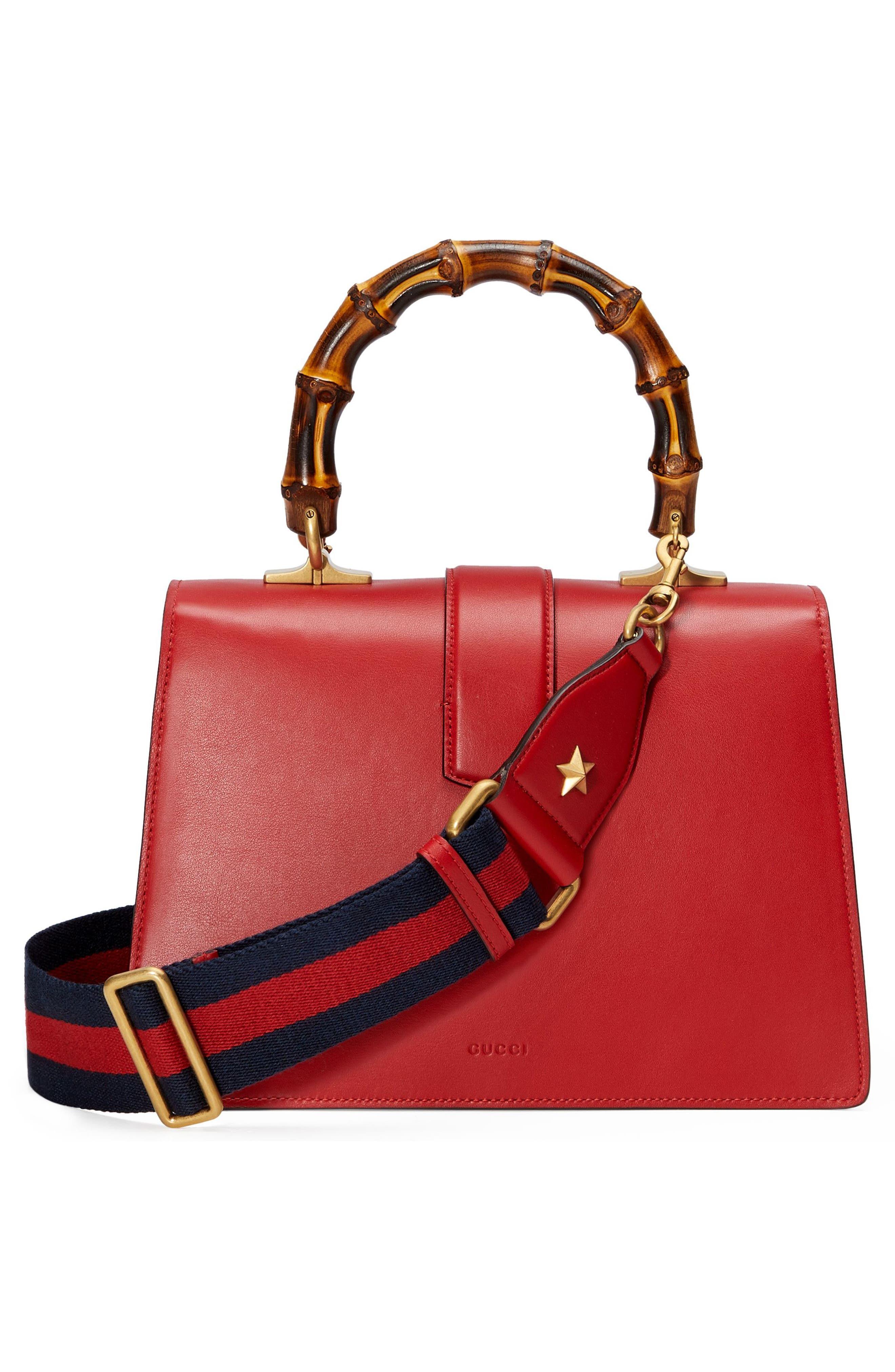 Small Dionysus Top Handle Leather Shoulder Bag,                             Alternate thumbnail 2, color,                             Red/ White/ Blue