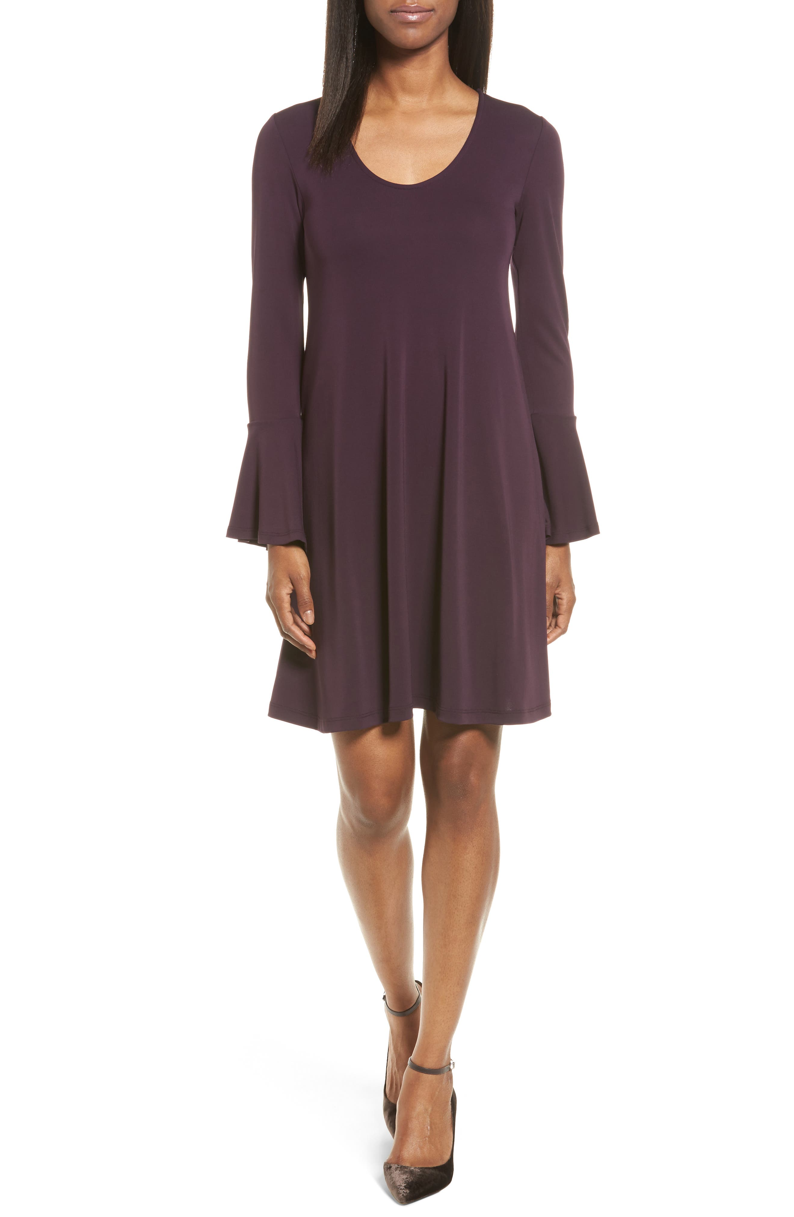 Taylor Flare Sleeve A-Line Dress,                             Main thumbnail 1, color,                             Eggplant