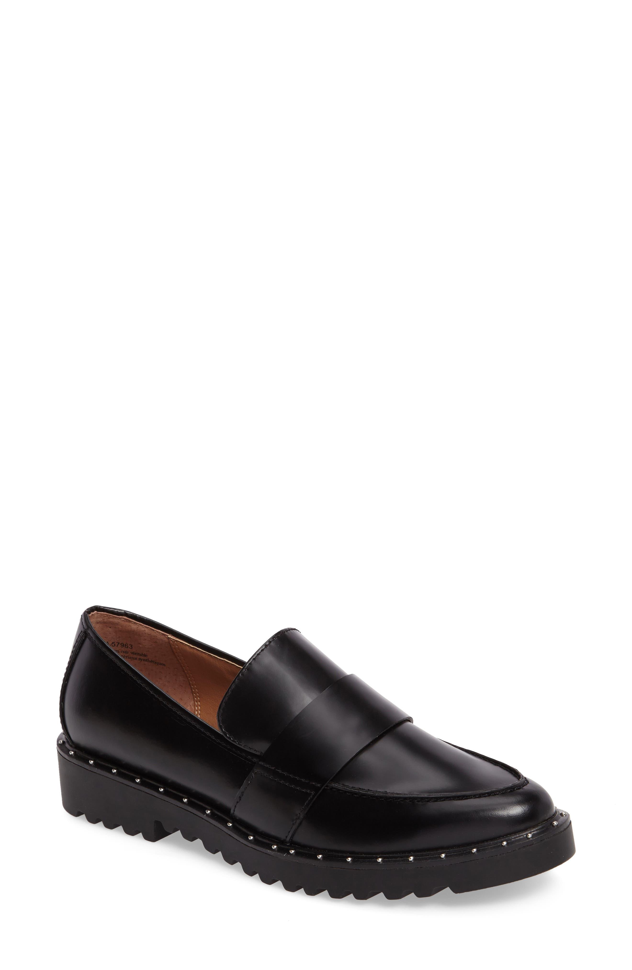 Emily Studded Flat,                         Main,                         color, Black Box Leather
