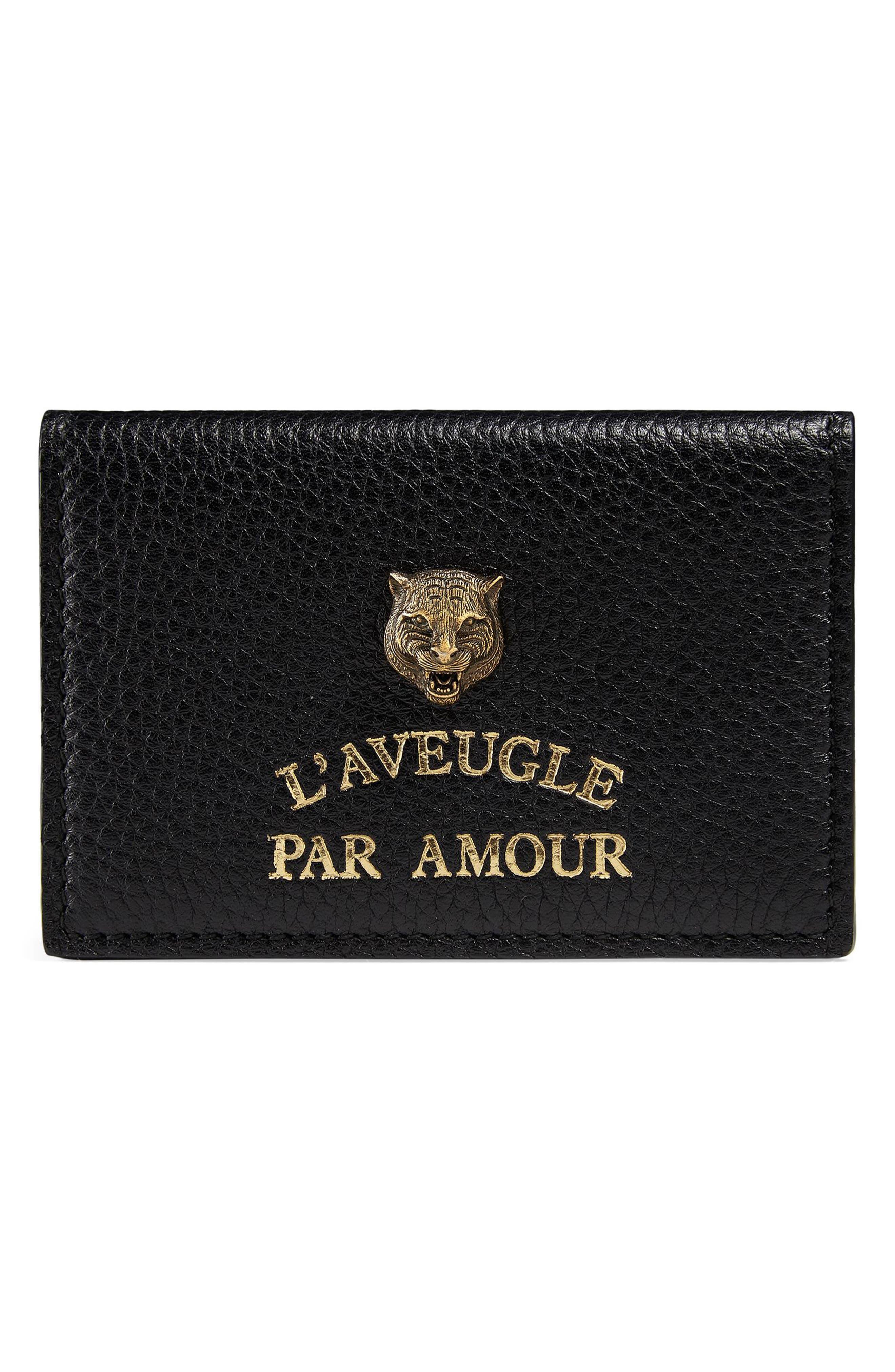 L'Aveugle Par Amour Leather Card Case,                             Main thumbnail 1, color,                             Nero