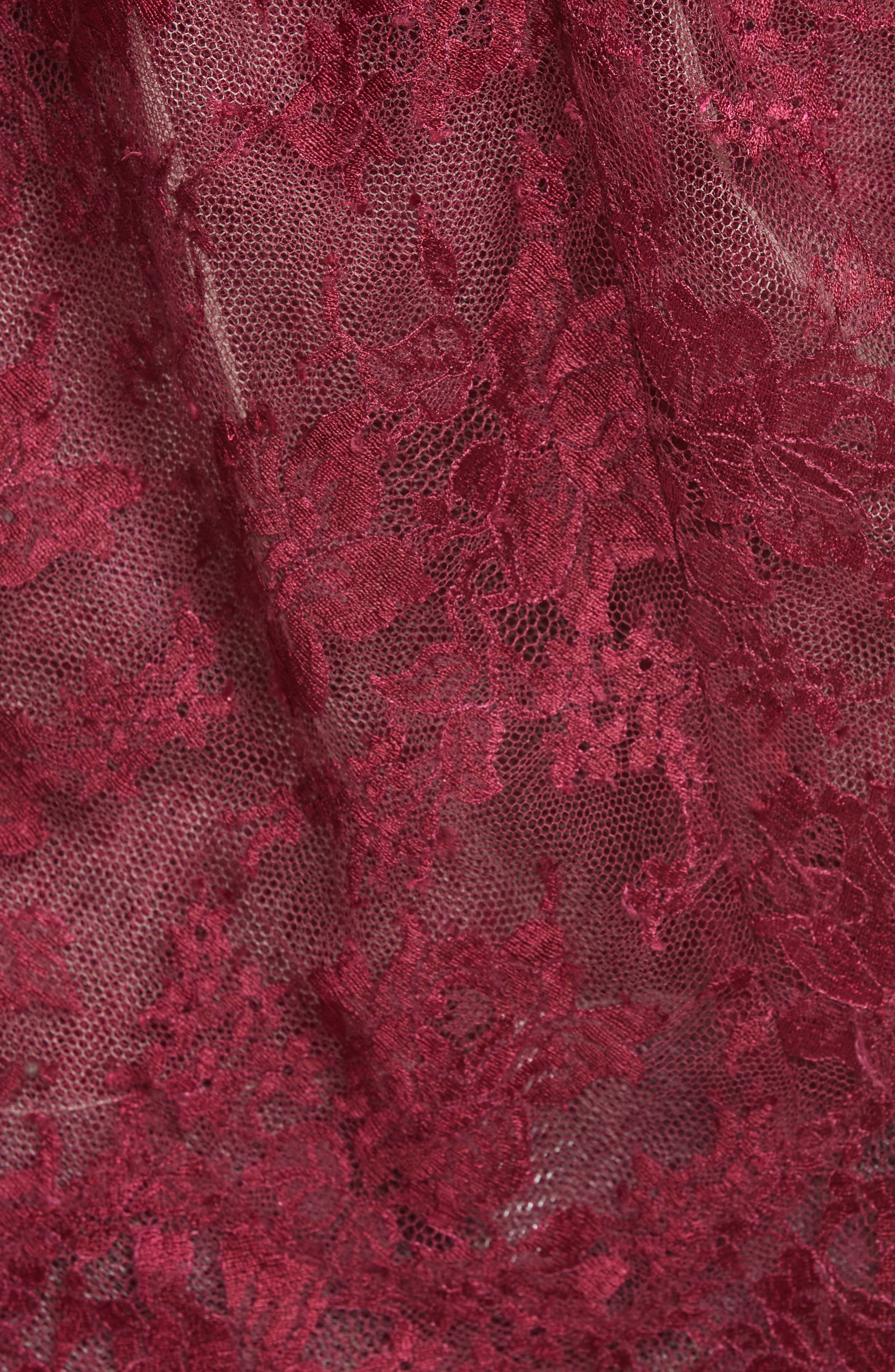 Tiered Strapless Lace Gown,                             Alternate thumbnail 3, color,                             Cherry